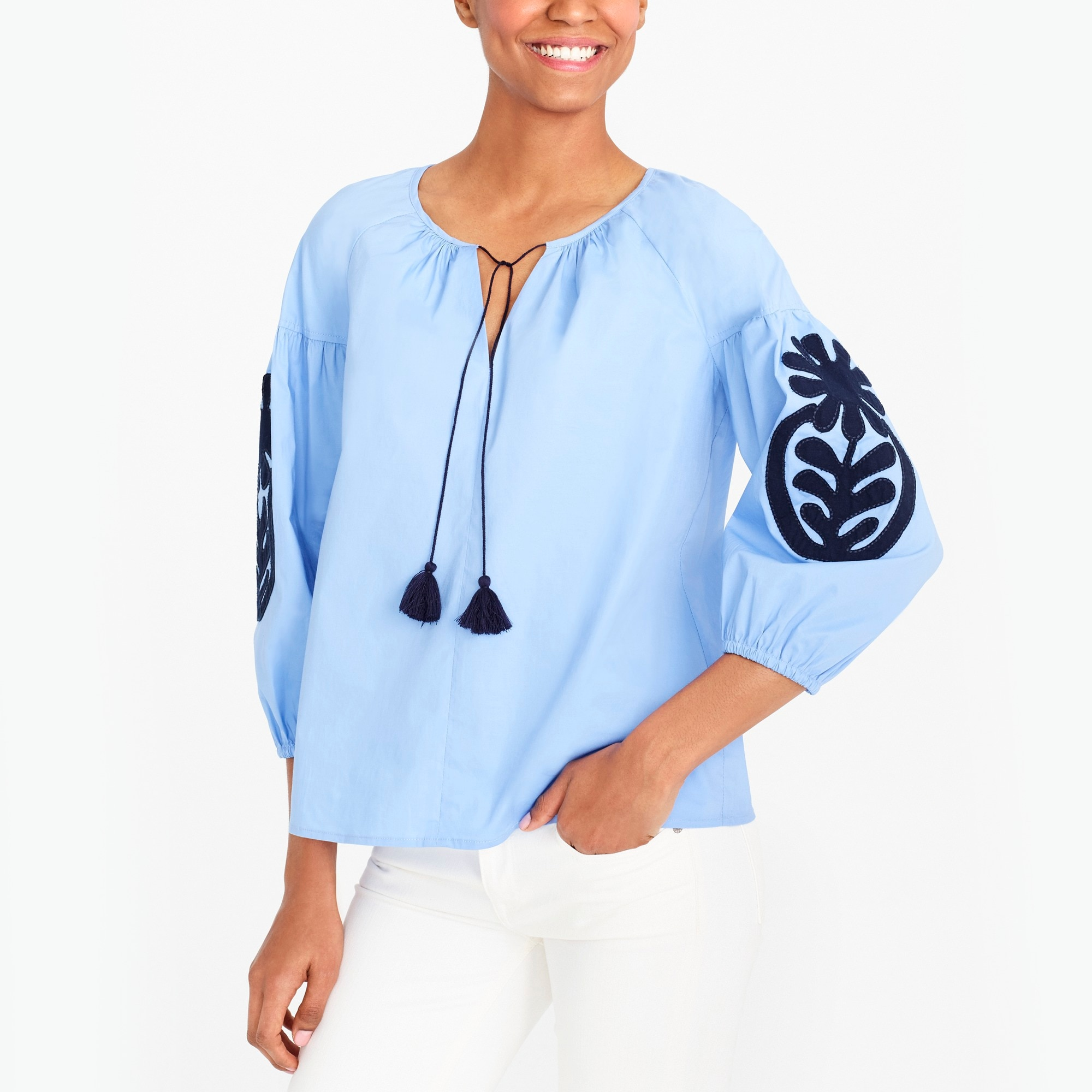 Embroidered peasant top factorywomen new arrivals c