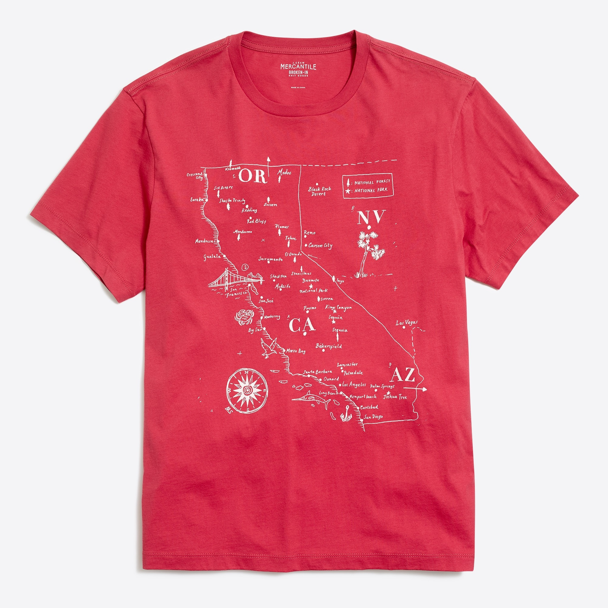 Image 2 for J.Crew Mercantile Broken-in California map T-shirt