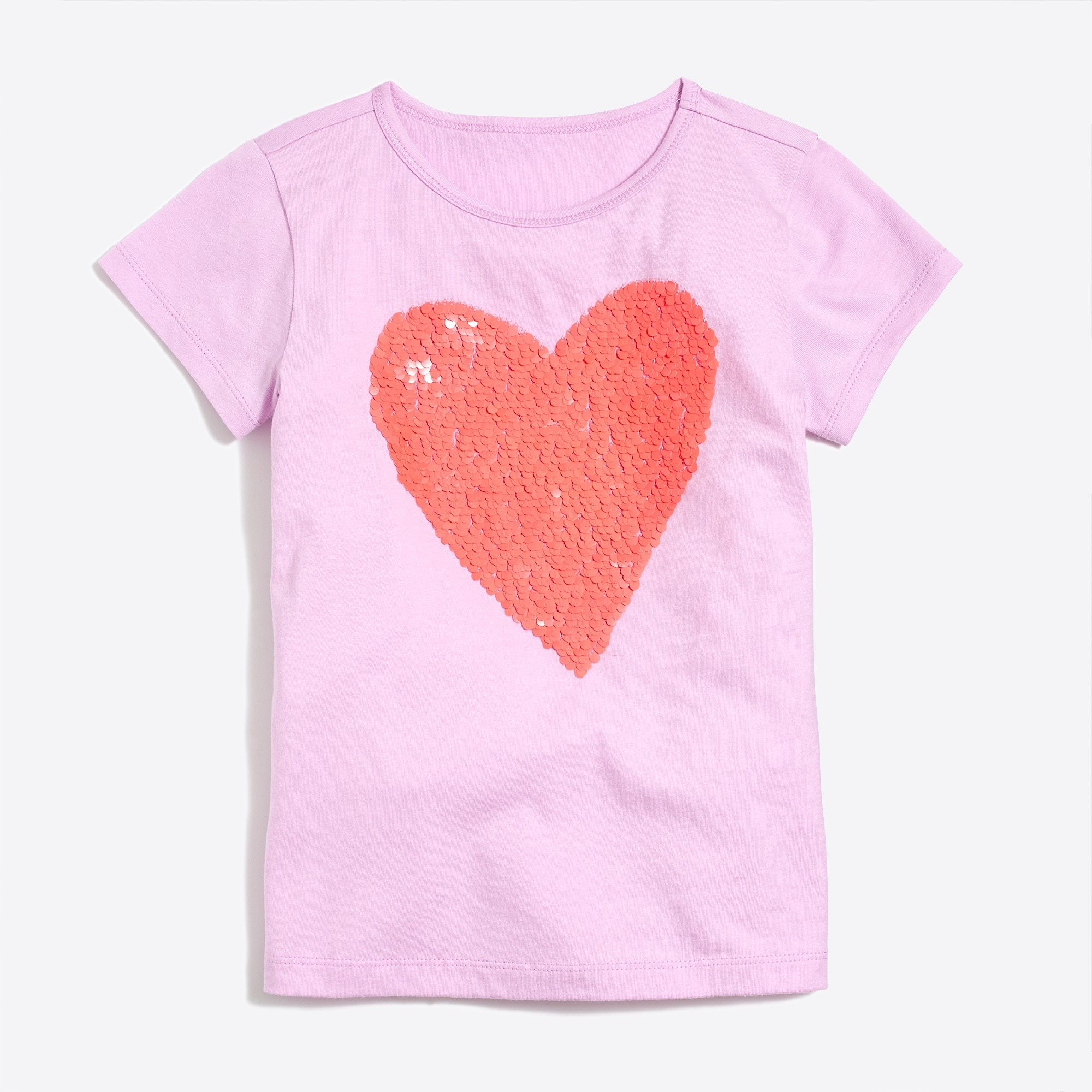 Image 1 for Girls' sequin heart graphic T-shirt