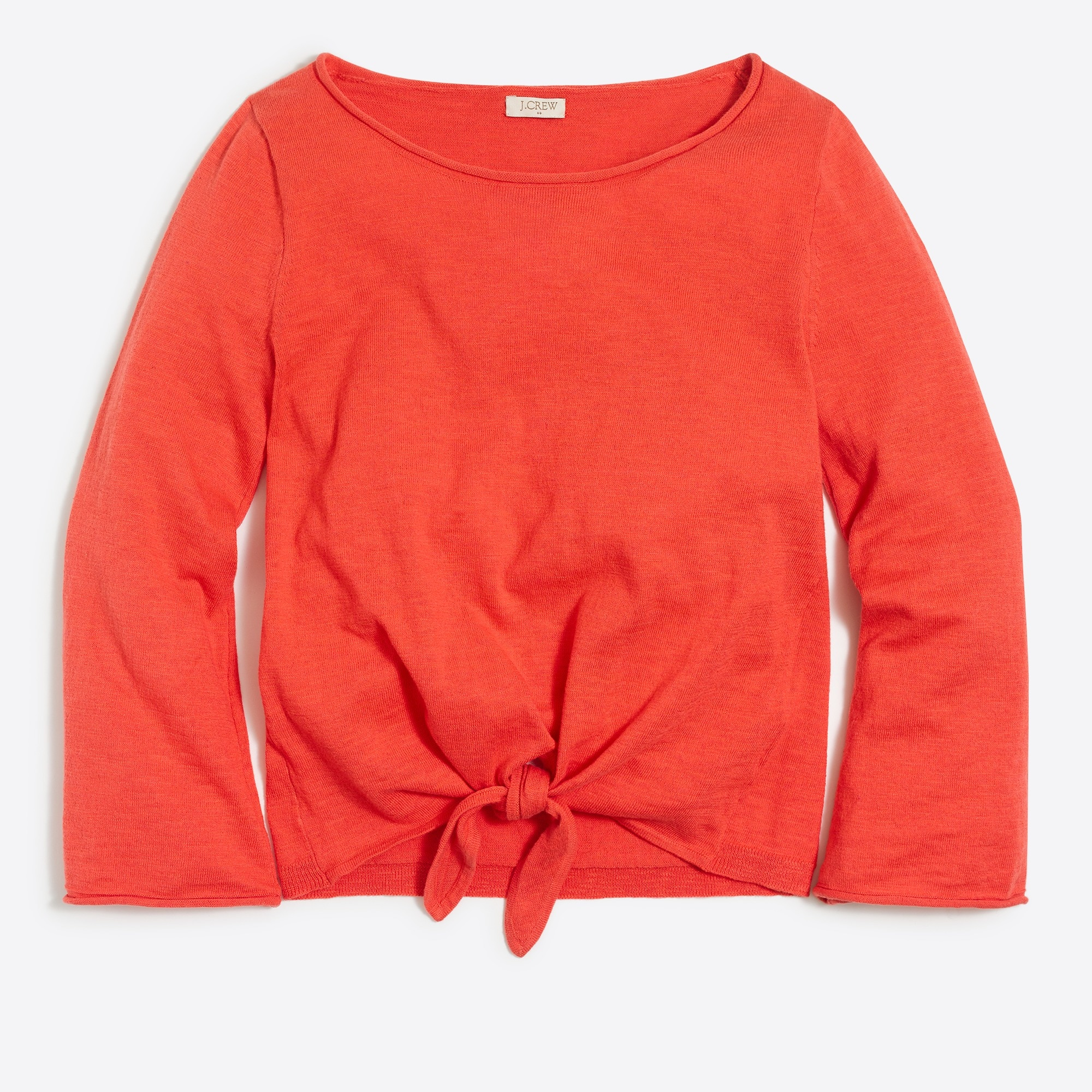 Boatneck tie-front sweater