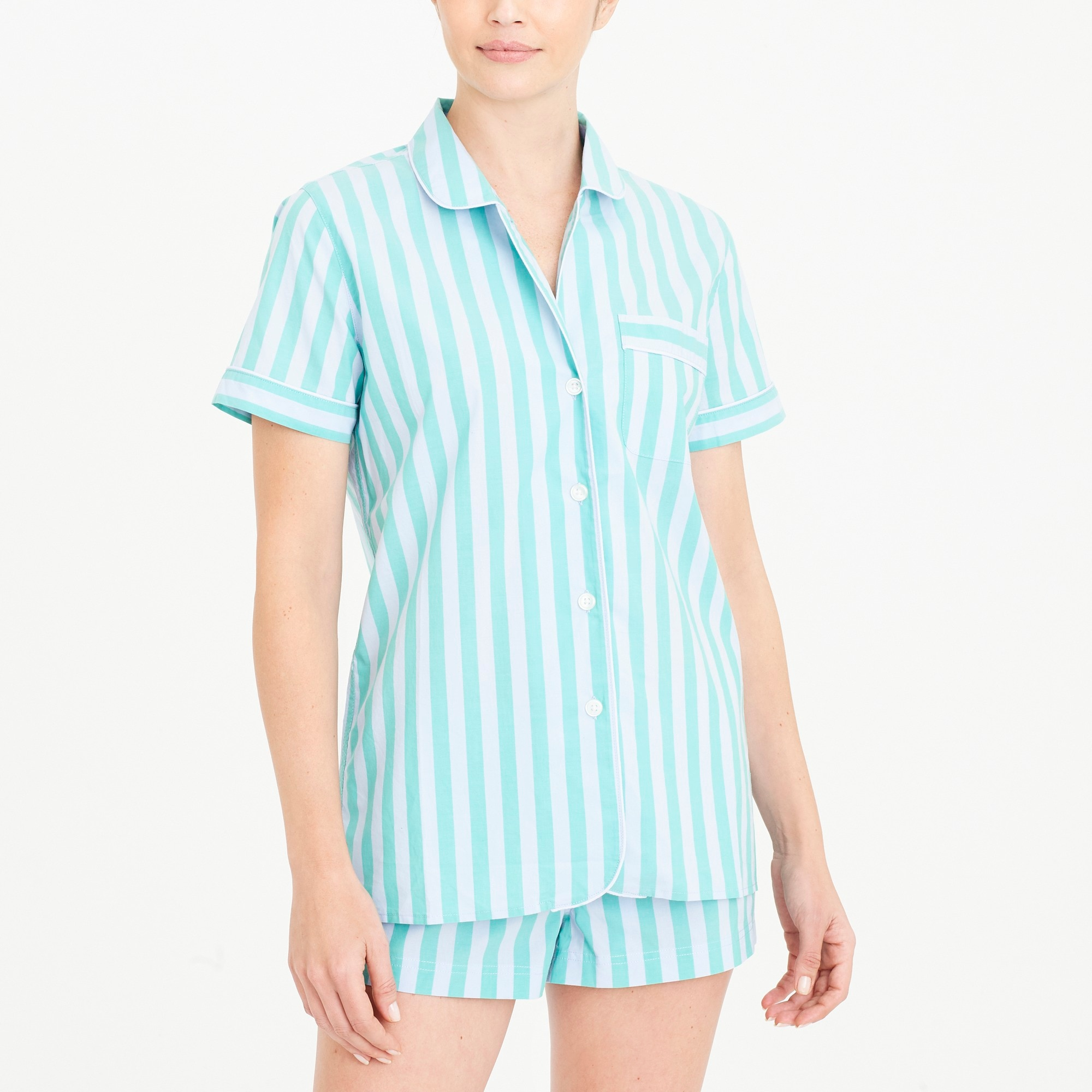 cotton poplin short-sleeve sleep shirt : factorywomen pajamas