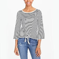 Striped boatneck tie-front sweater