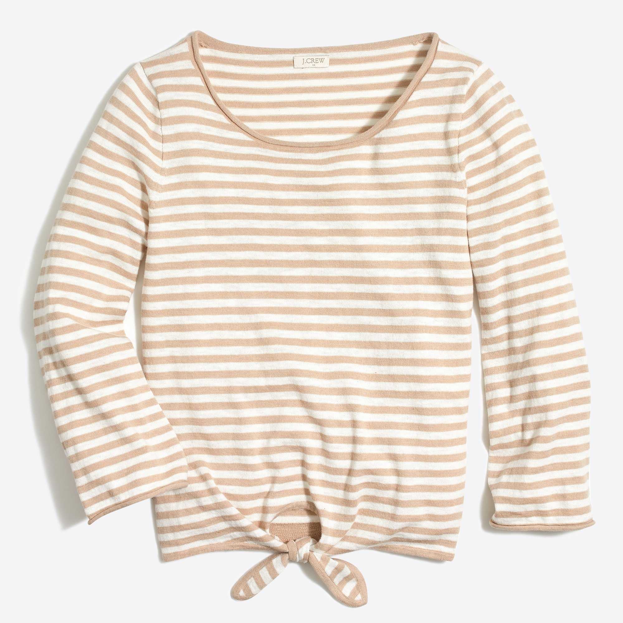 Striped boatneck tie-front sweater   search