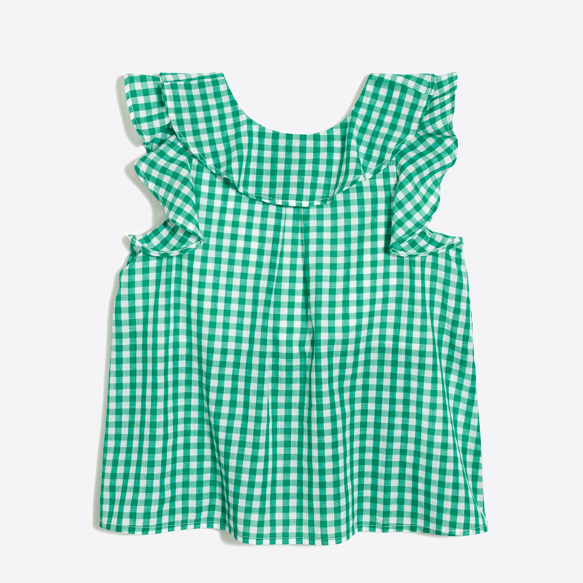 Girls' ruffle tank top in gingham