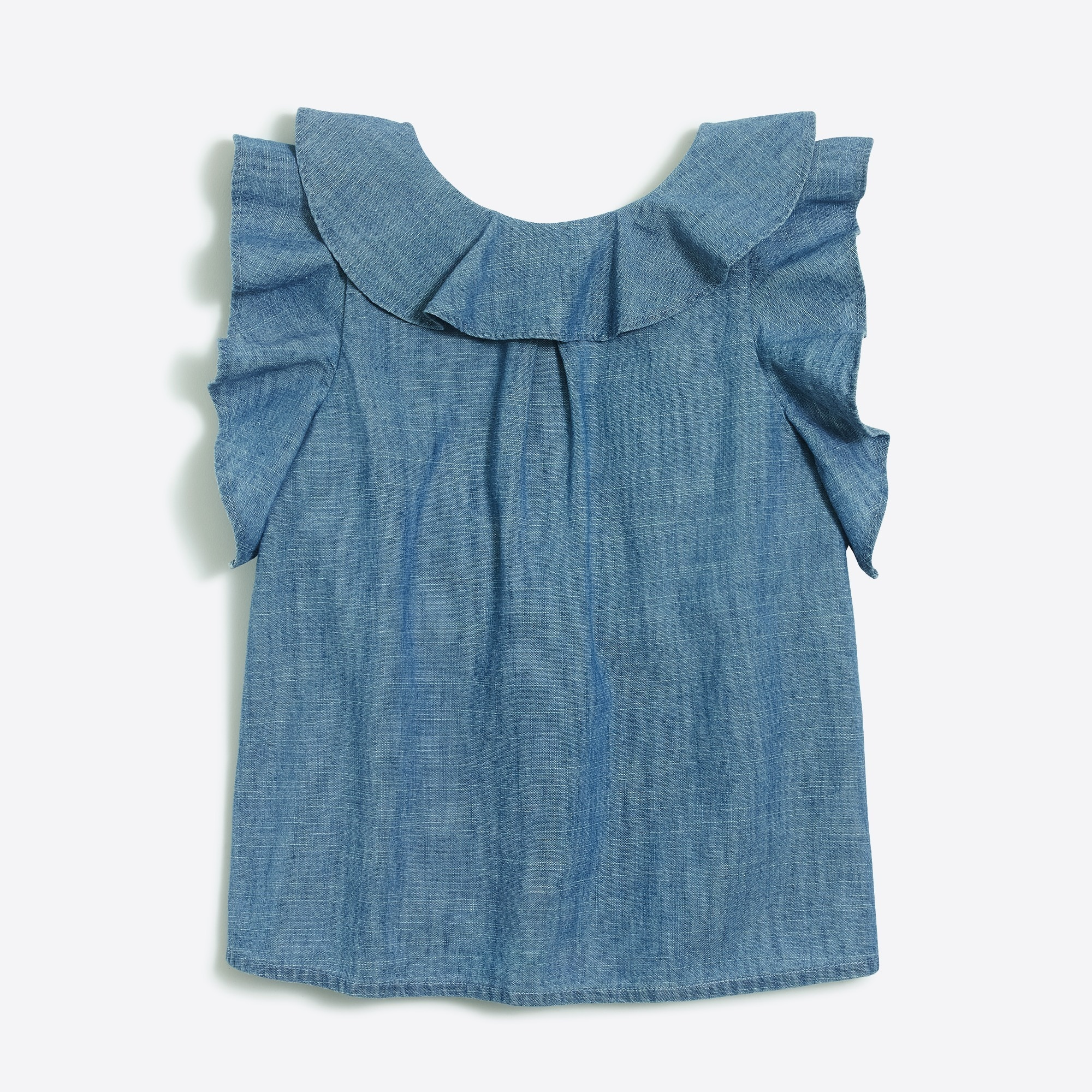 Chambray ruffle tank top factorygirls shirts, t-shirts & tops c