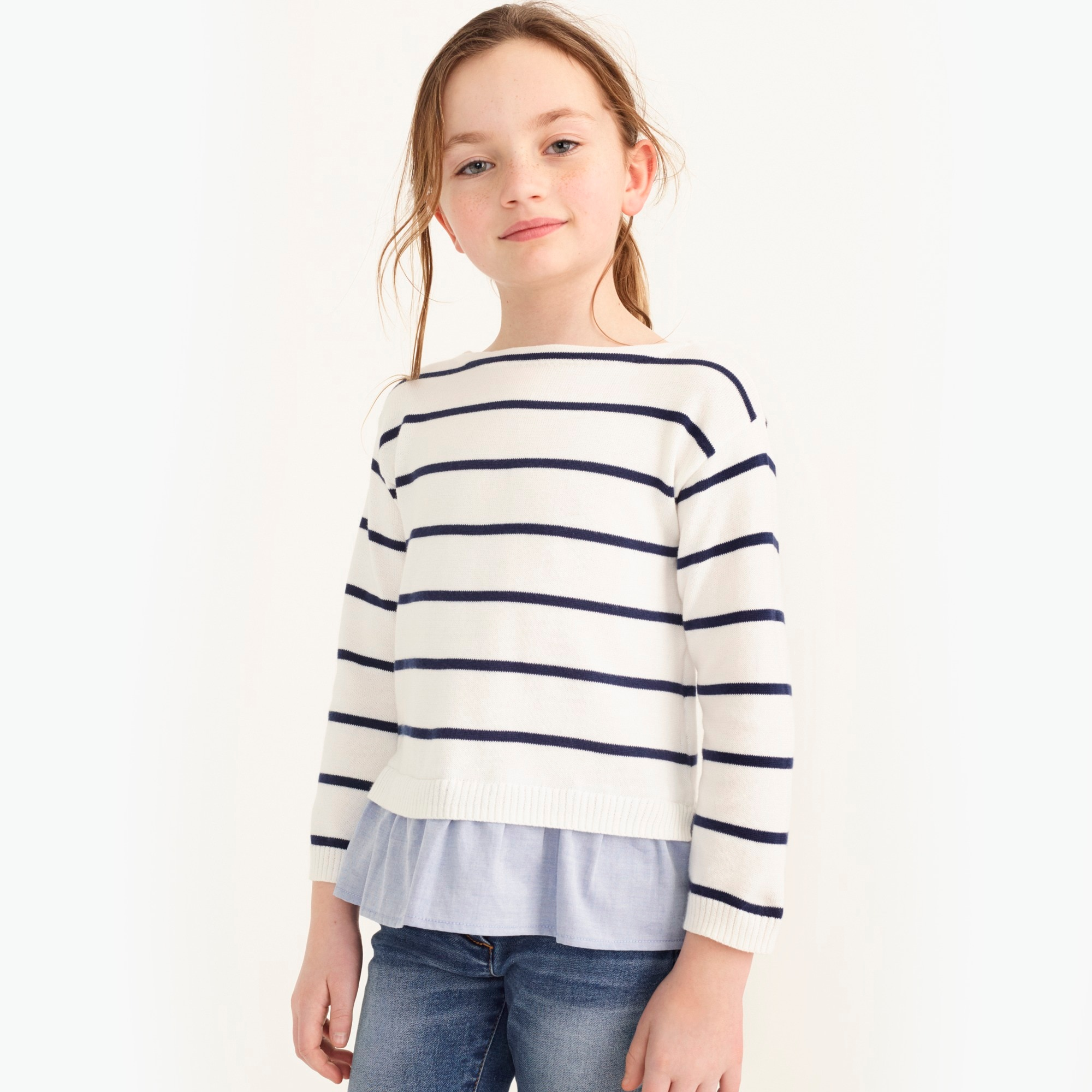Image 1 for Girls' chambray ruffle-hem popover sweater