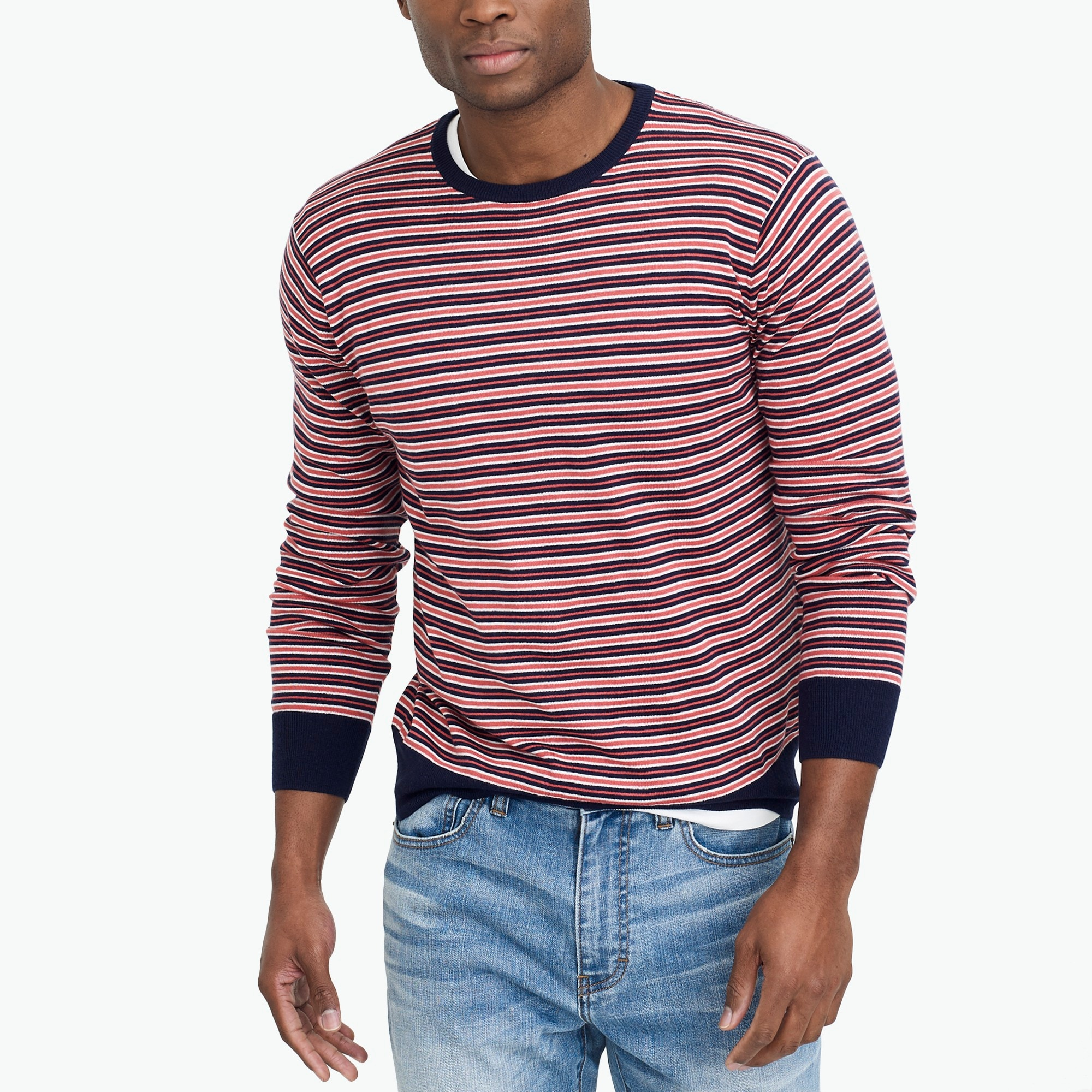 Cotton-linen striped crewneck sweater factorymen sweaters c