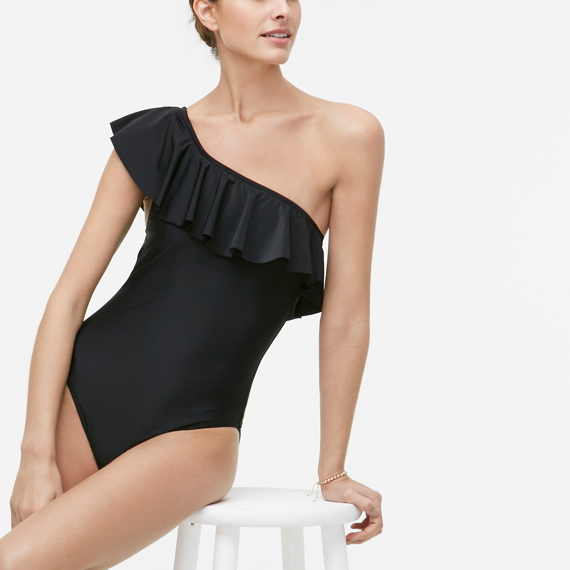 factory womens Ruffle one-shoulder one-piece swimsuit