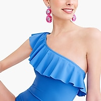 Ruffle one-shoulder one-piece swimsuit