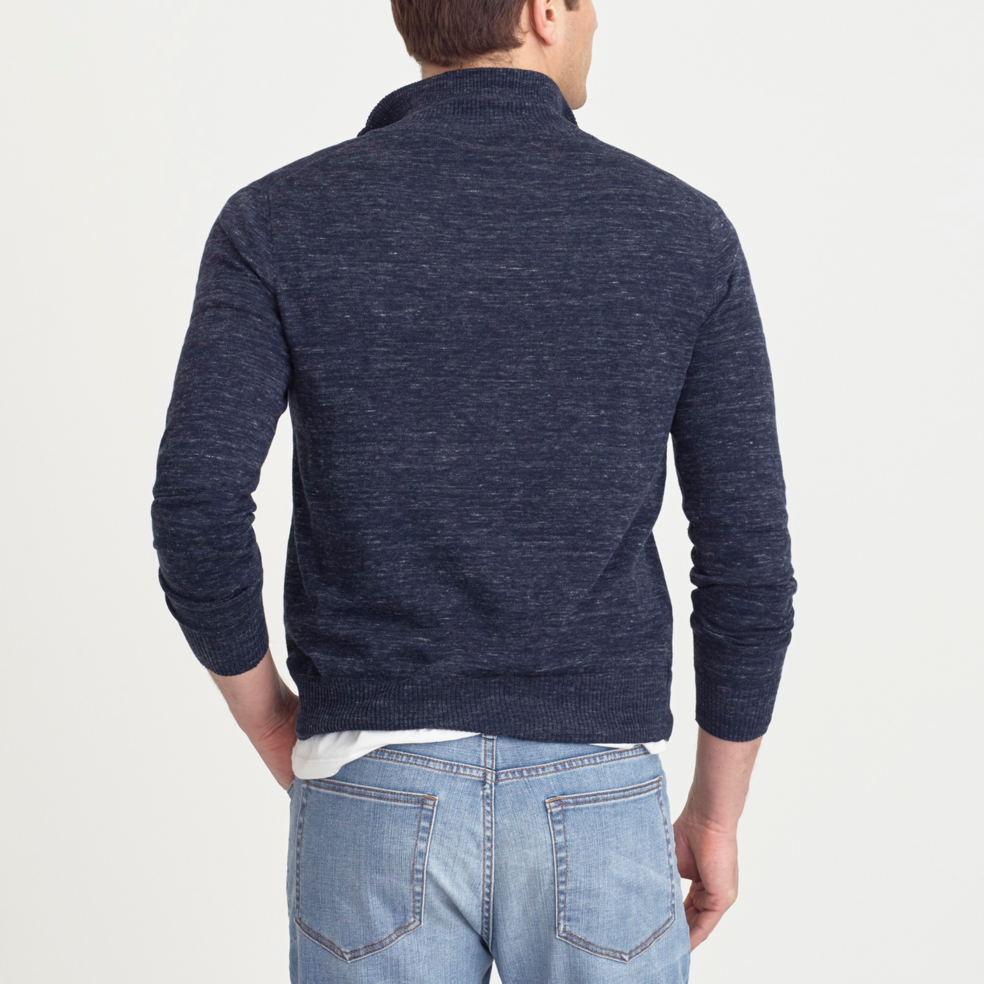 Image 3 for Cotton-linen half-zip sweater