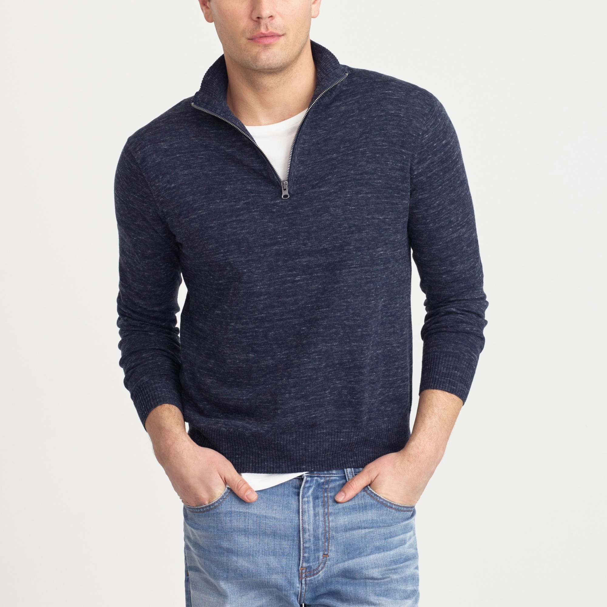 Cotton-linen half-zip sweater