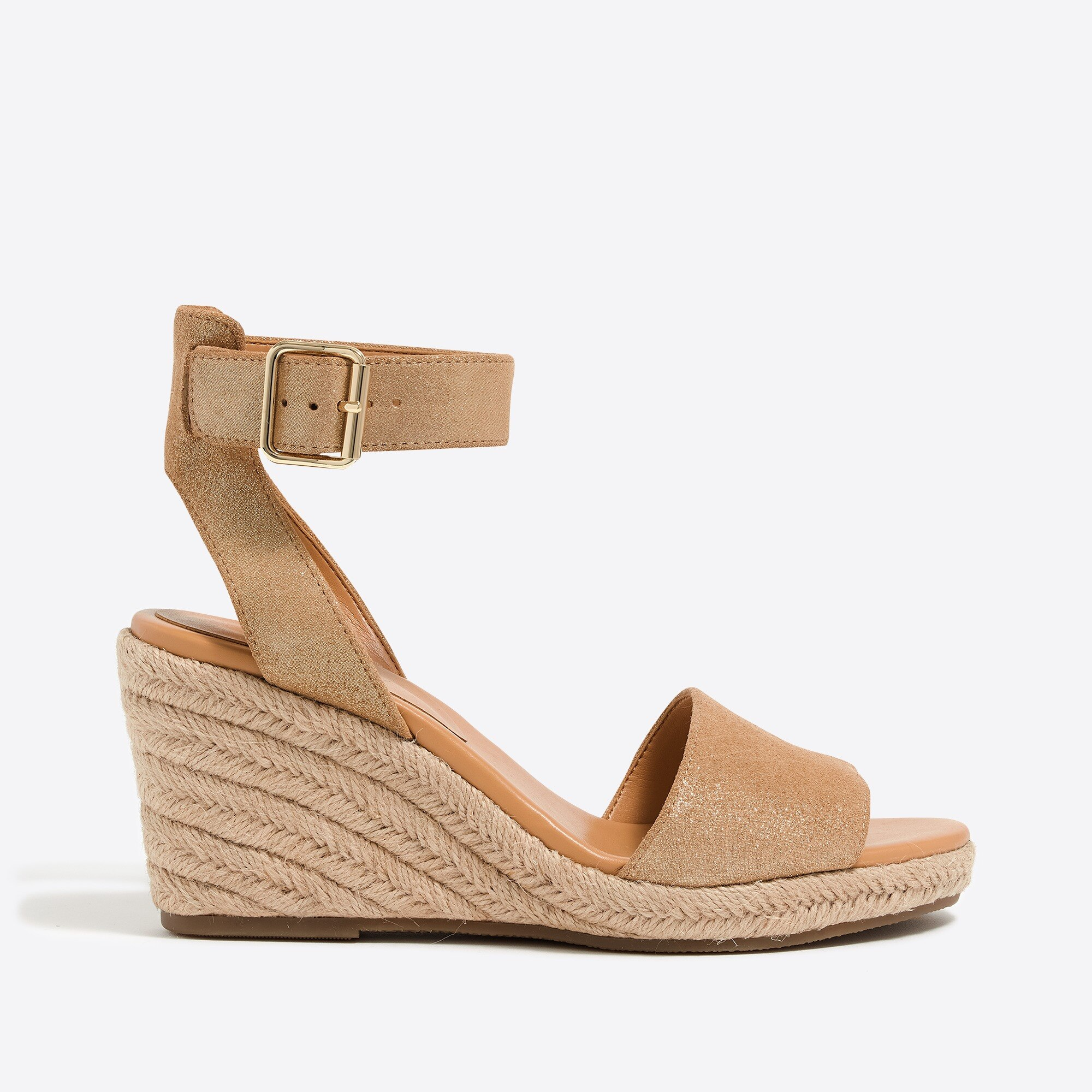 Metallic suede espadrille wedges