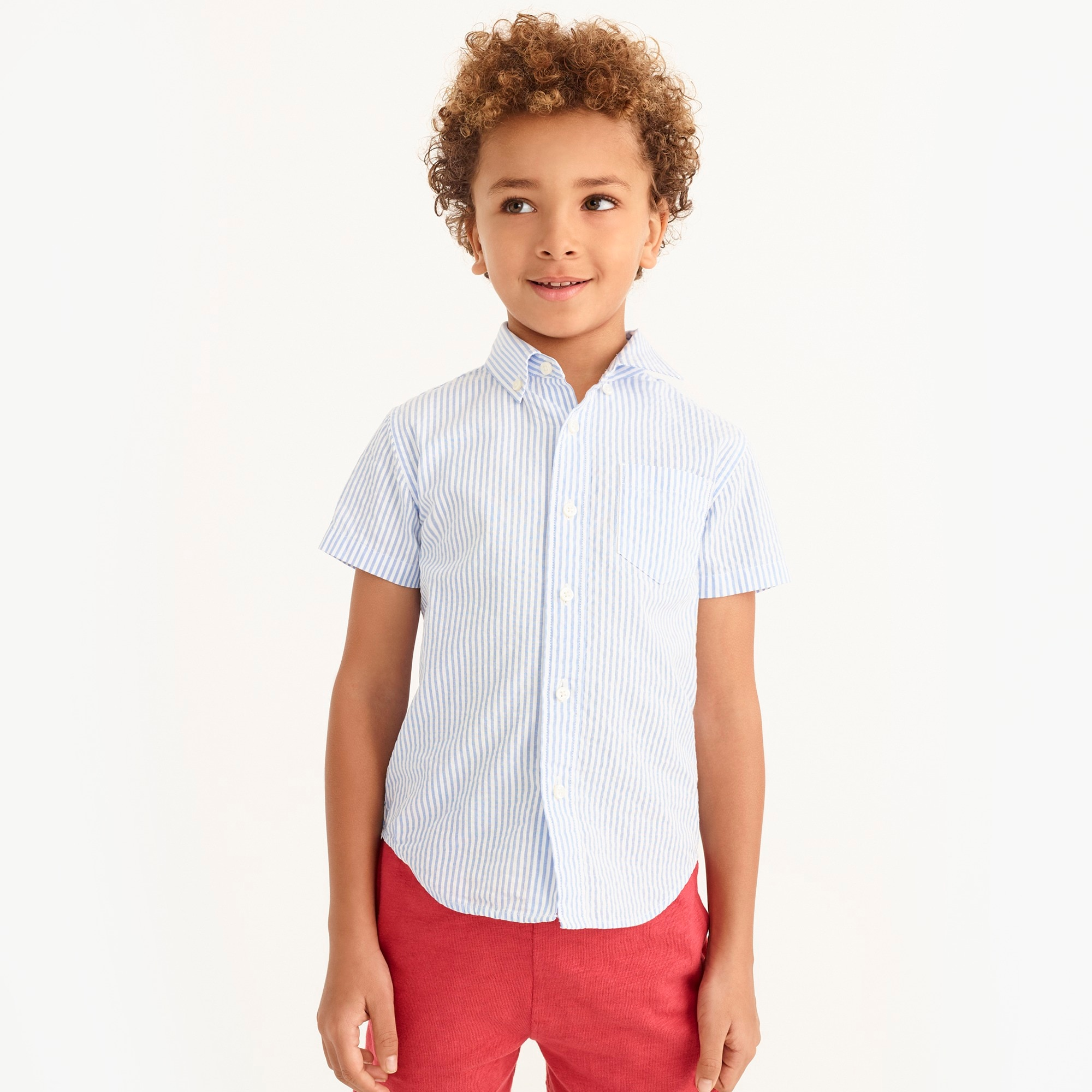 boys' short-sleeve shirt in seersucker : factoryboys shirts