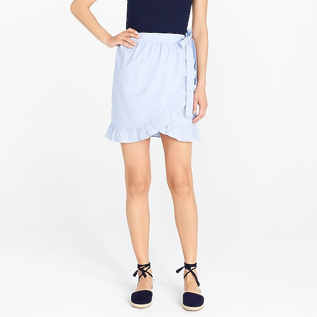 j.crew factory: wrap mini skirt in cotton poplin