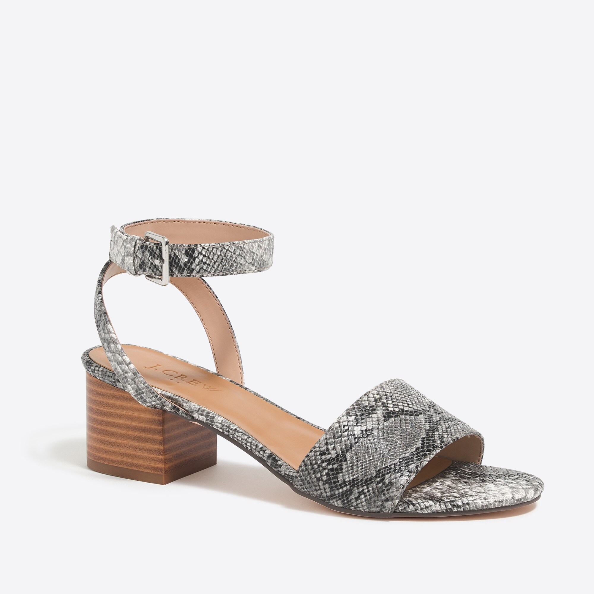 Snakeskin block-heel sandals factorywomen shoes c