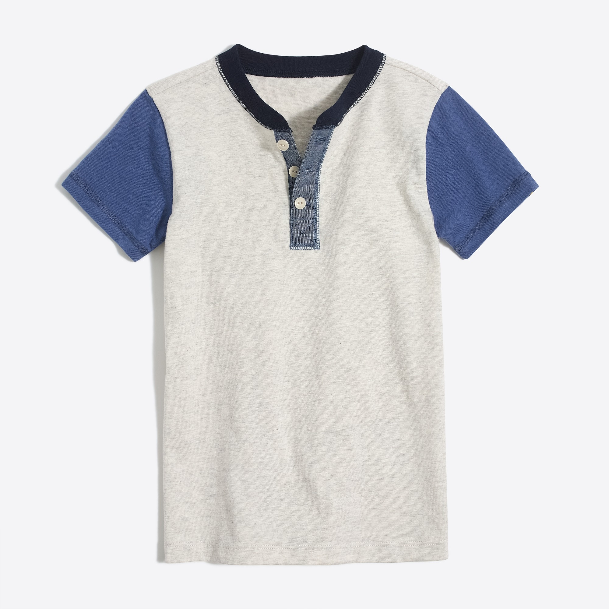 Image 2 for Boys' short-sleeve colorblock henley shirt
