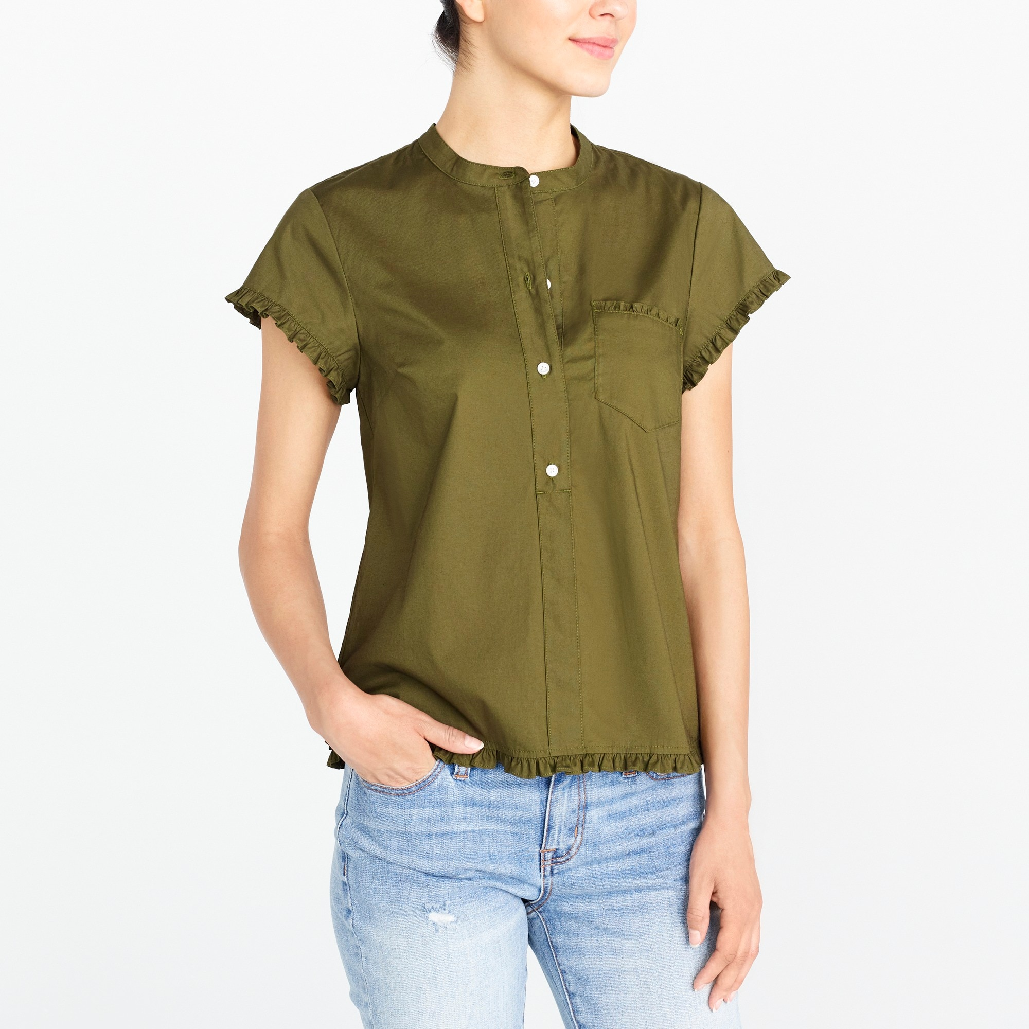 Short-sleeved popover with ruffle trim factorywomen new arrivals c
