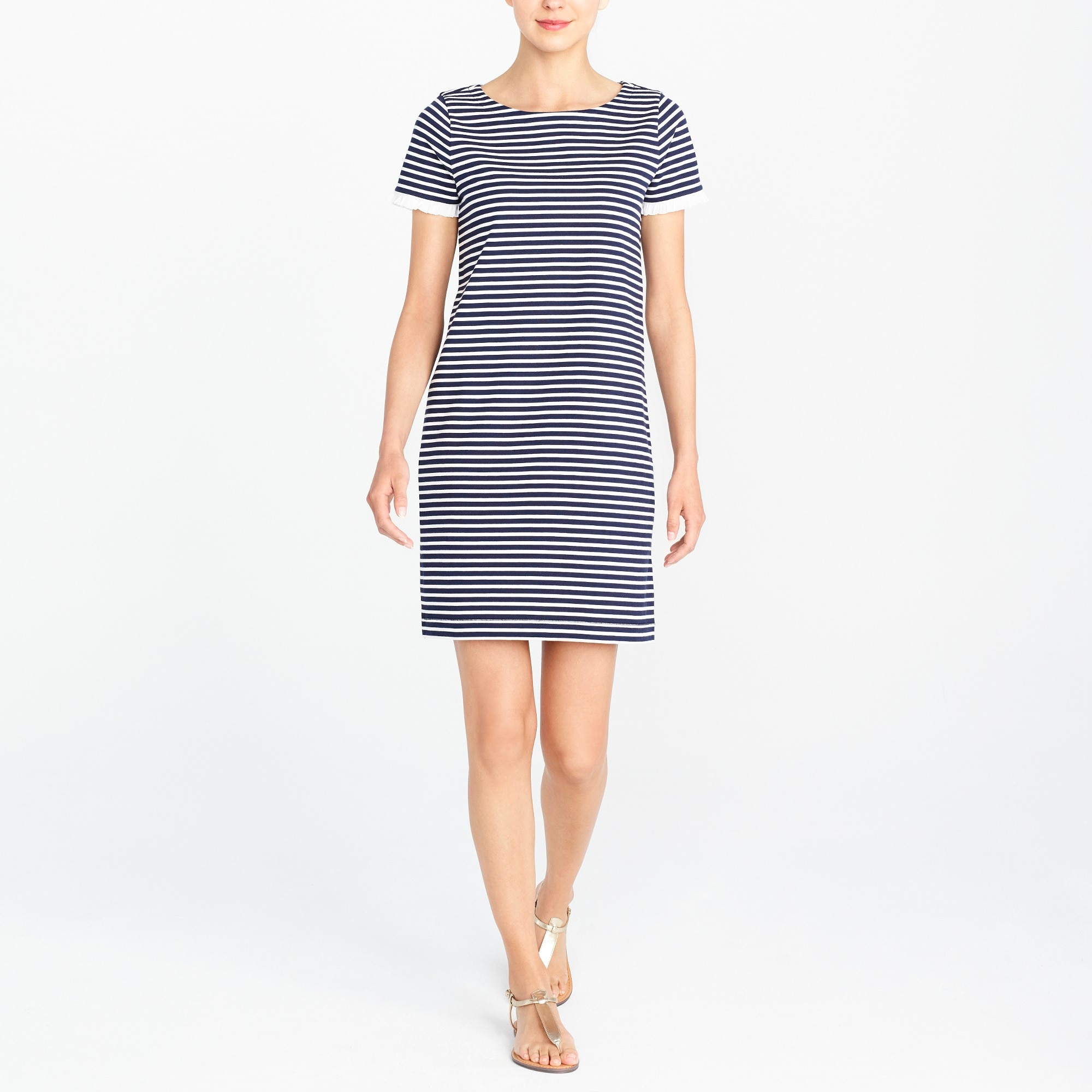 Striped poplin-trimmed dress