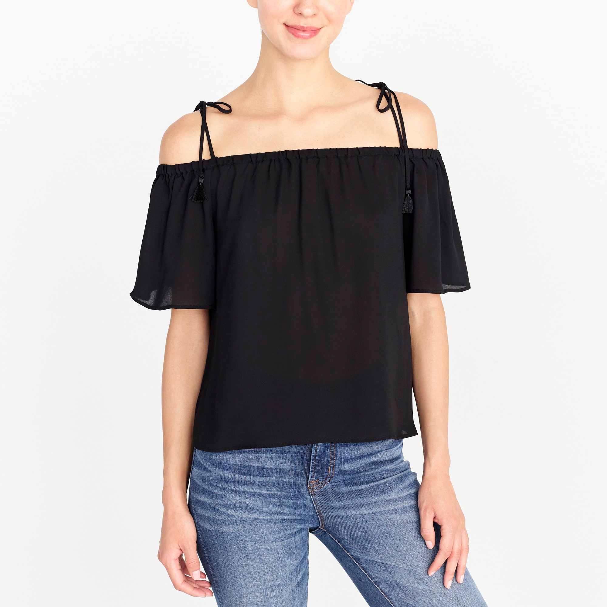 Image 1 for Tie cold-shoulder top