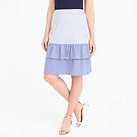 Cocktail stripe tiered ruffle midi skirt