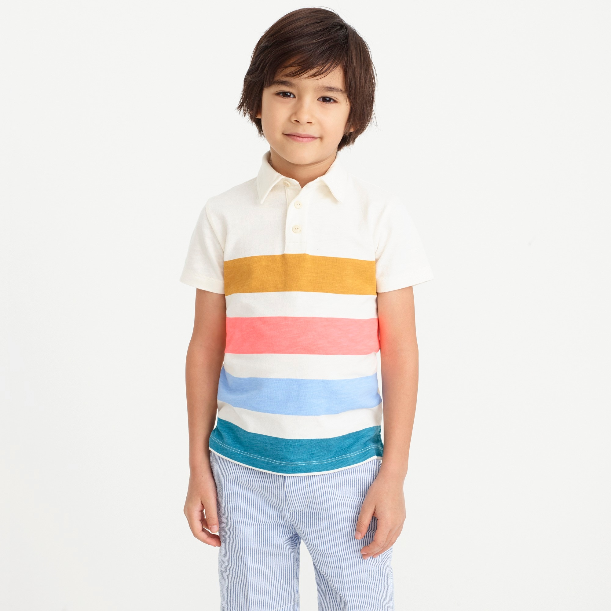 Boys' short-sleeve broad stripe polo shirt factoryboys new arrivals c