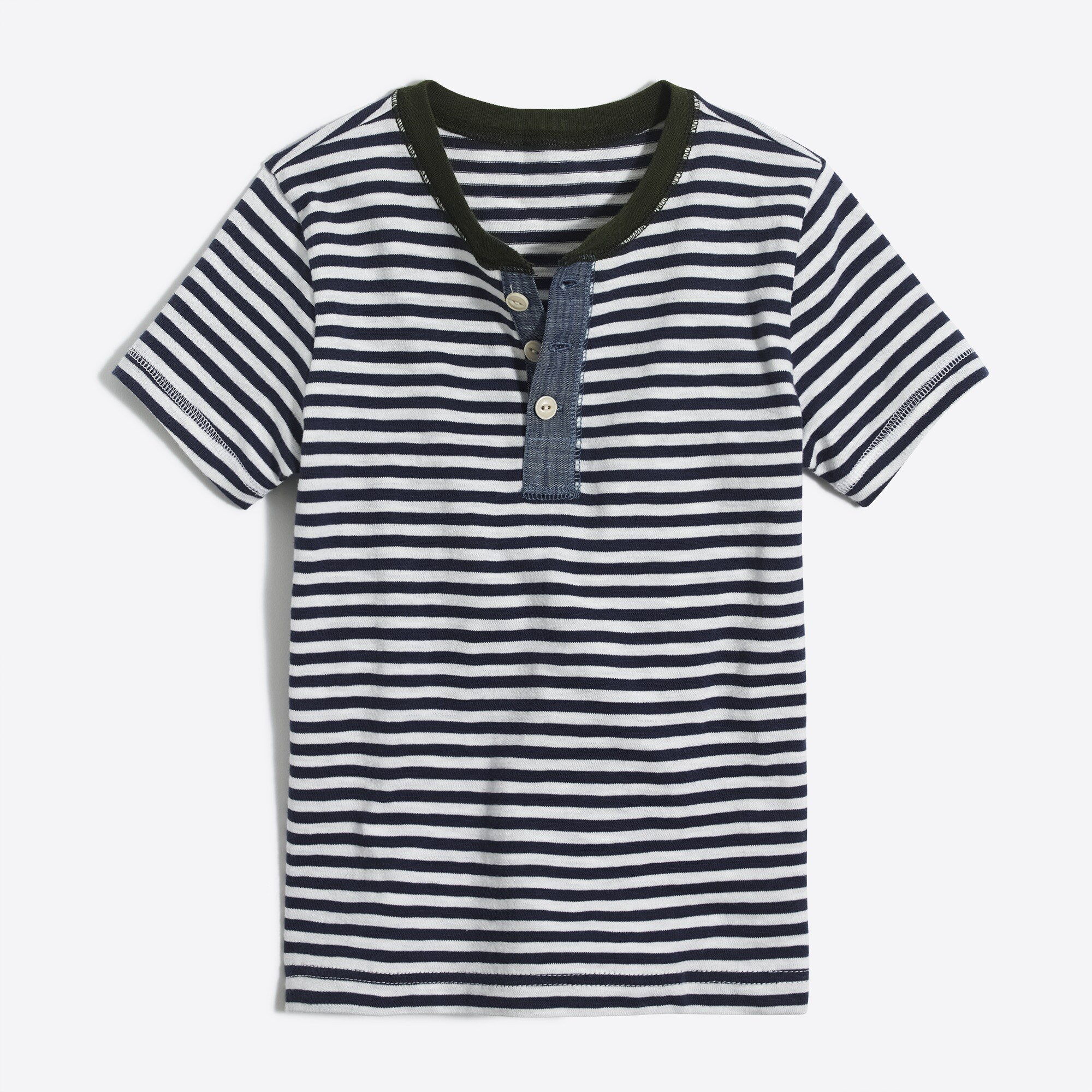 Boys' short-sleeve striped henley factoryboys the camp shop c