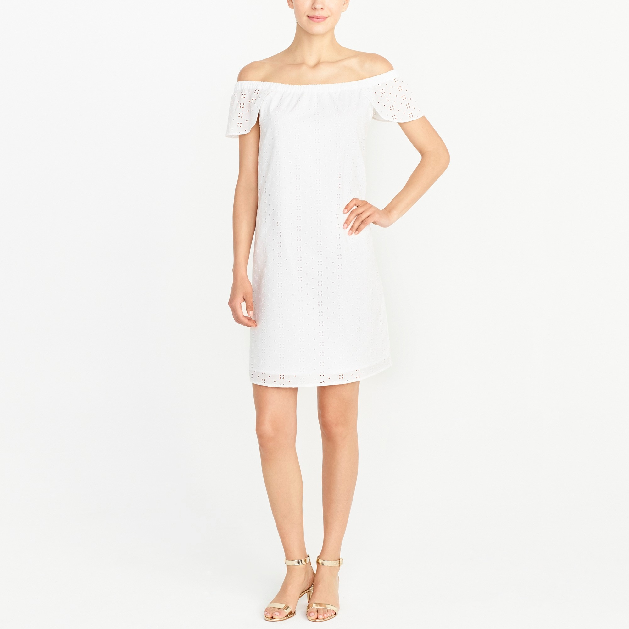 Eyelet off-the-shoulder dress