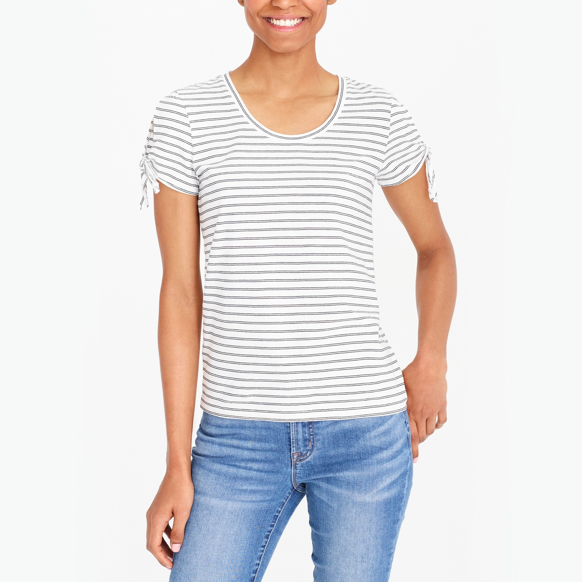 Striped tie-shoulder T-shirt factorywomen the score: tie-shoulder t-shirts and sidewalk skirts c
