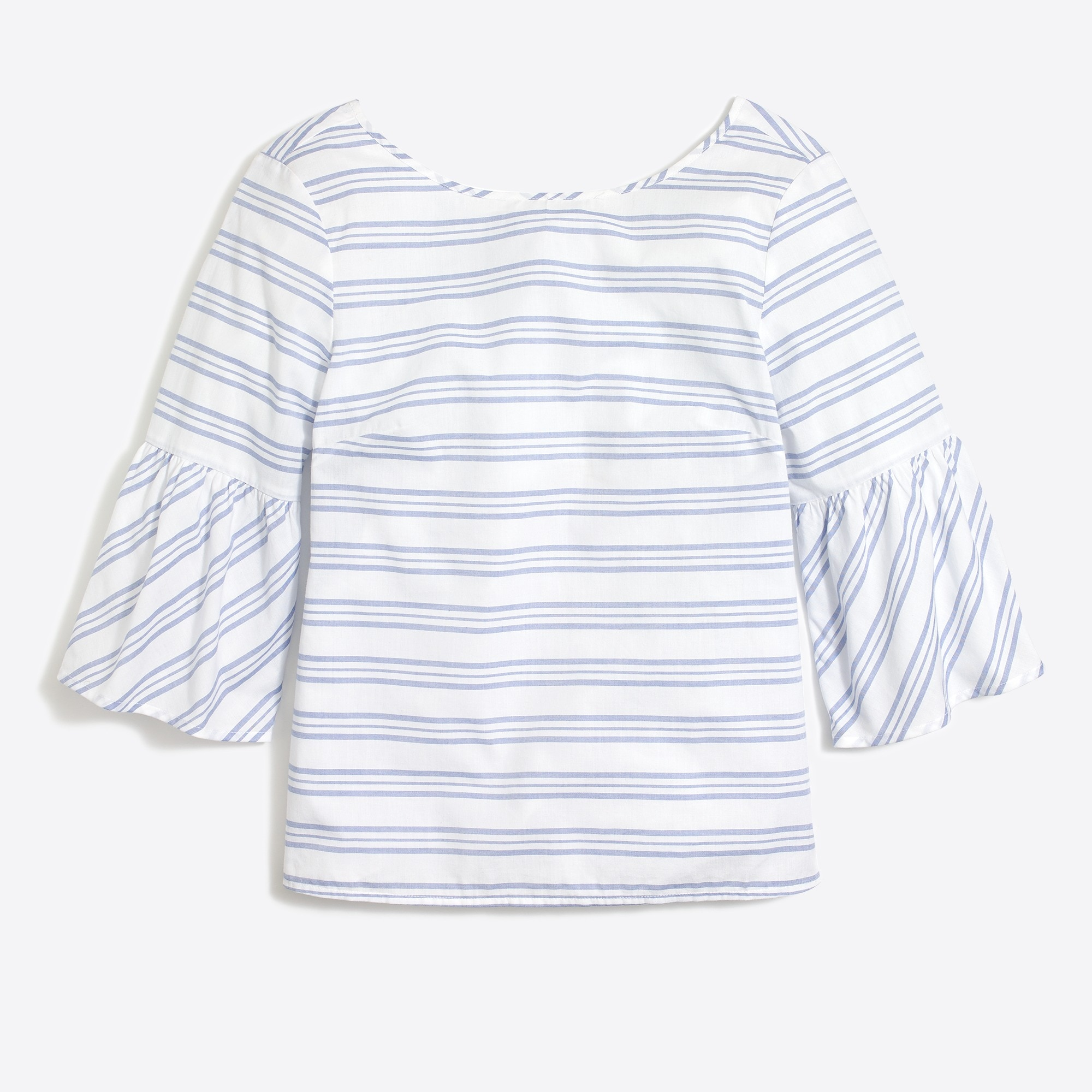 Striped bell-sleeve tie-back top