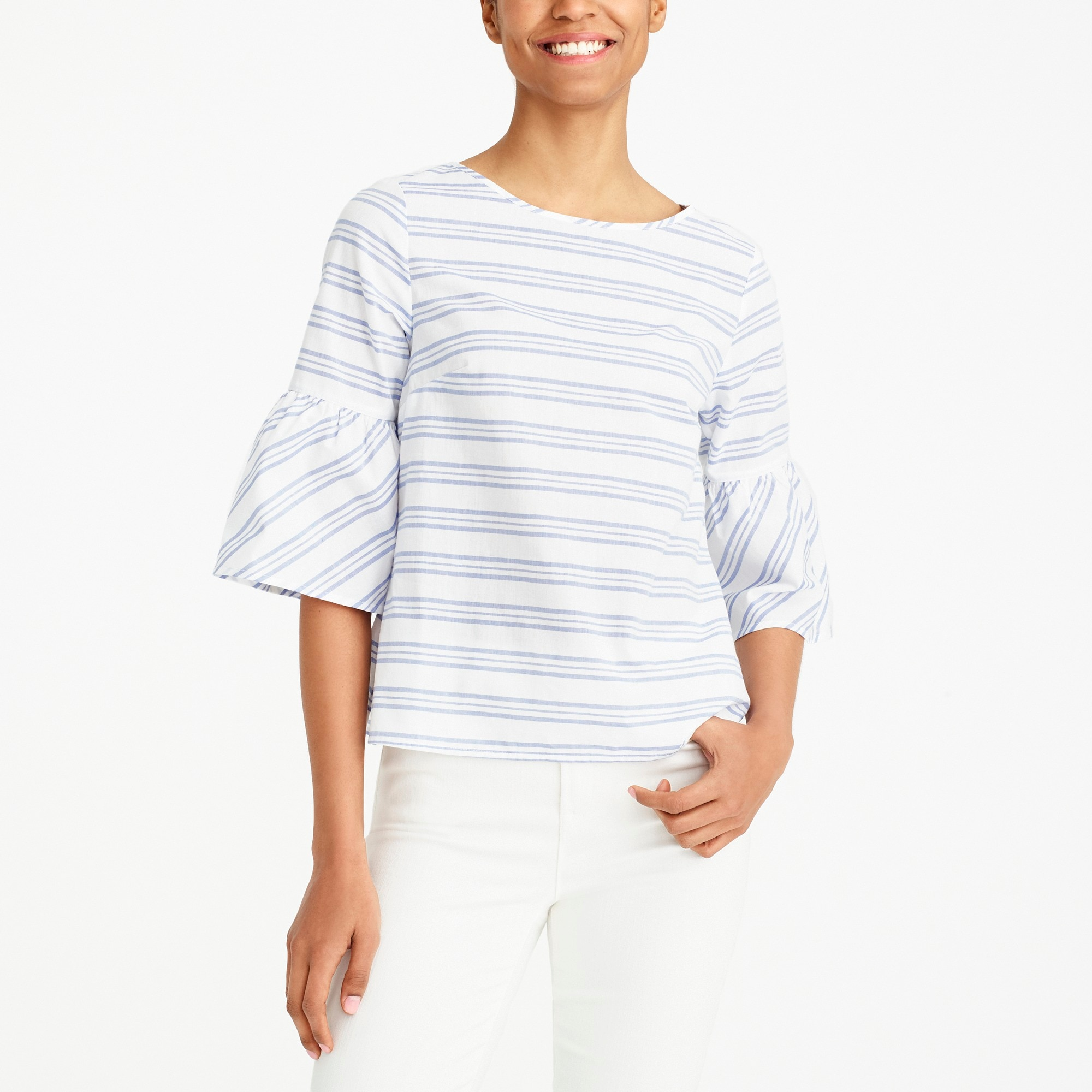 Image 1 for Striped bell-sleeve tie-back top