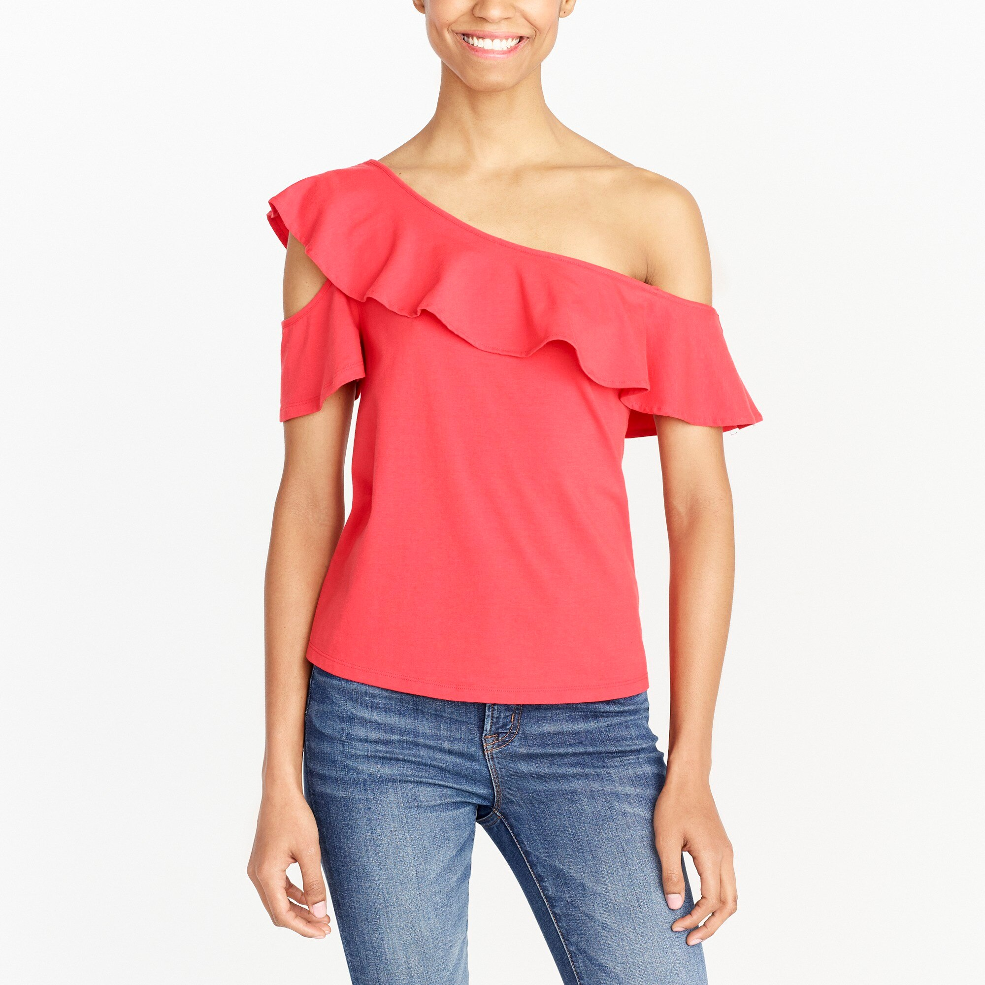 One-sleeve off-the-shoulder top