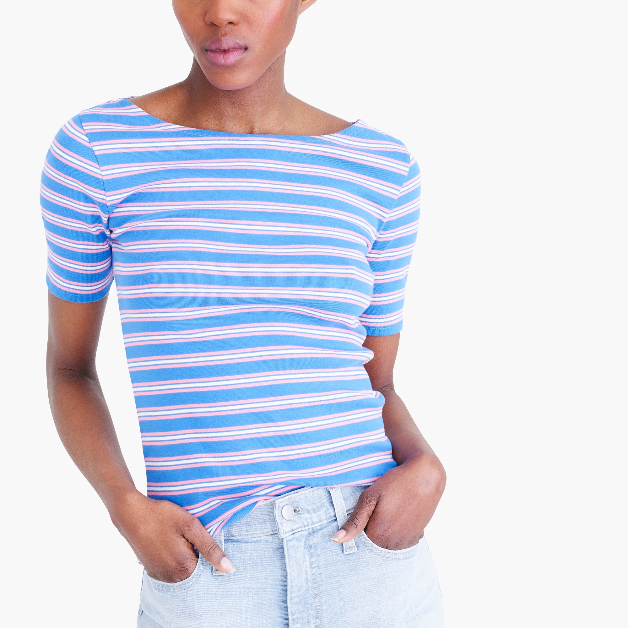 Striped perfect-fit open-neck T-shirt