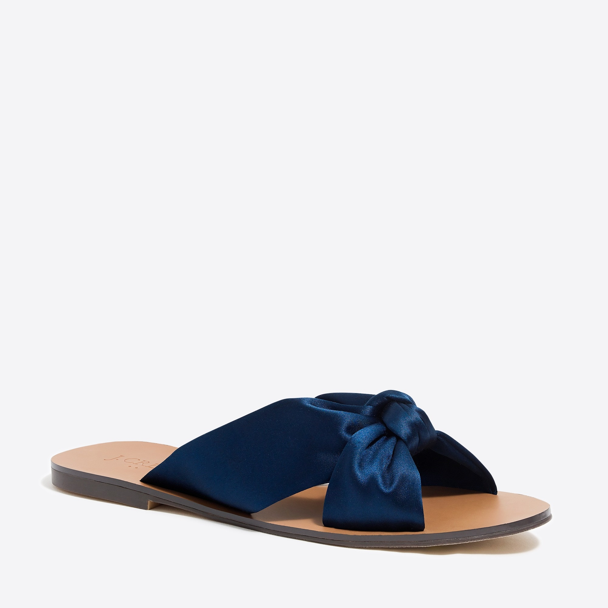 Satin Knotted Slide Sandals by J.Crew