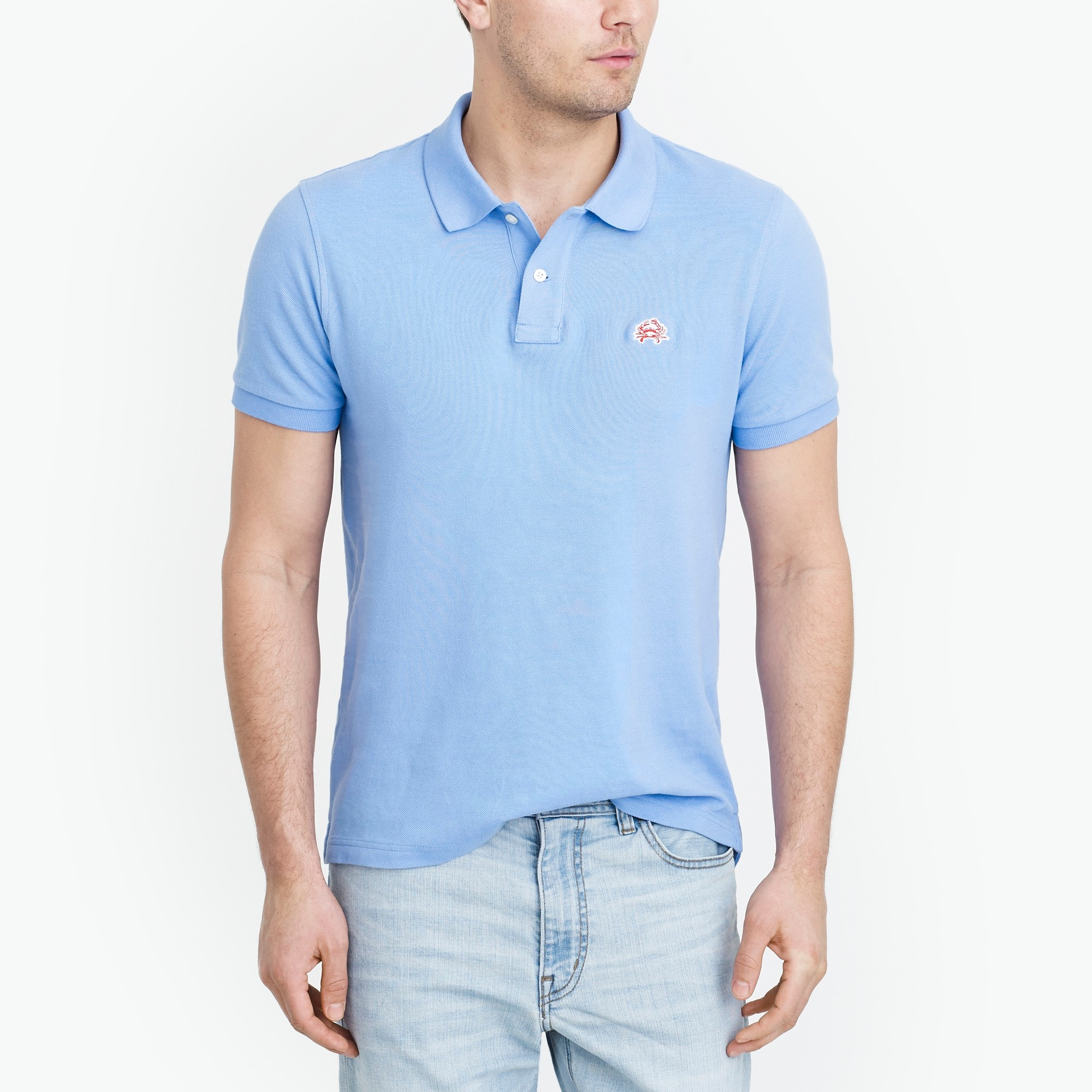 embroidered logo piqué polo shirt : factorymen polos