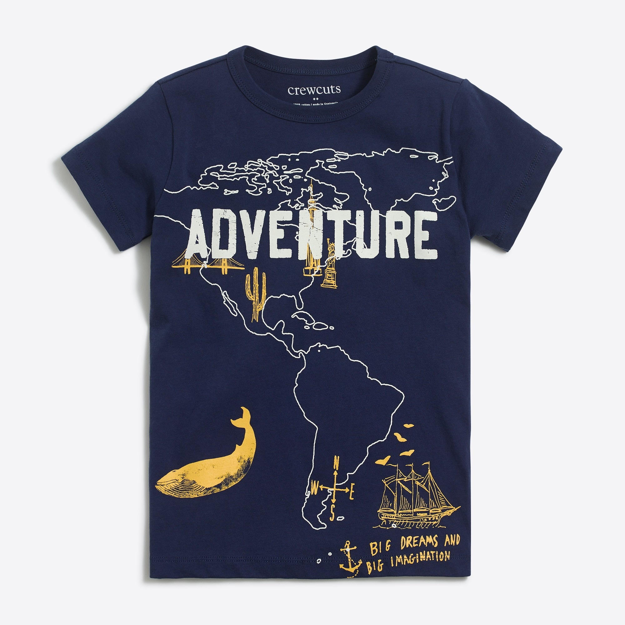 Boys' short-sleeve adventure map graphic T-shirt