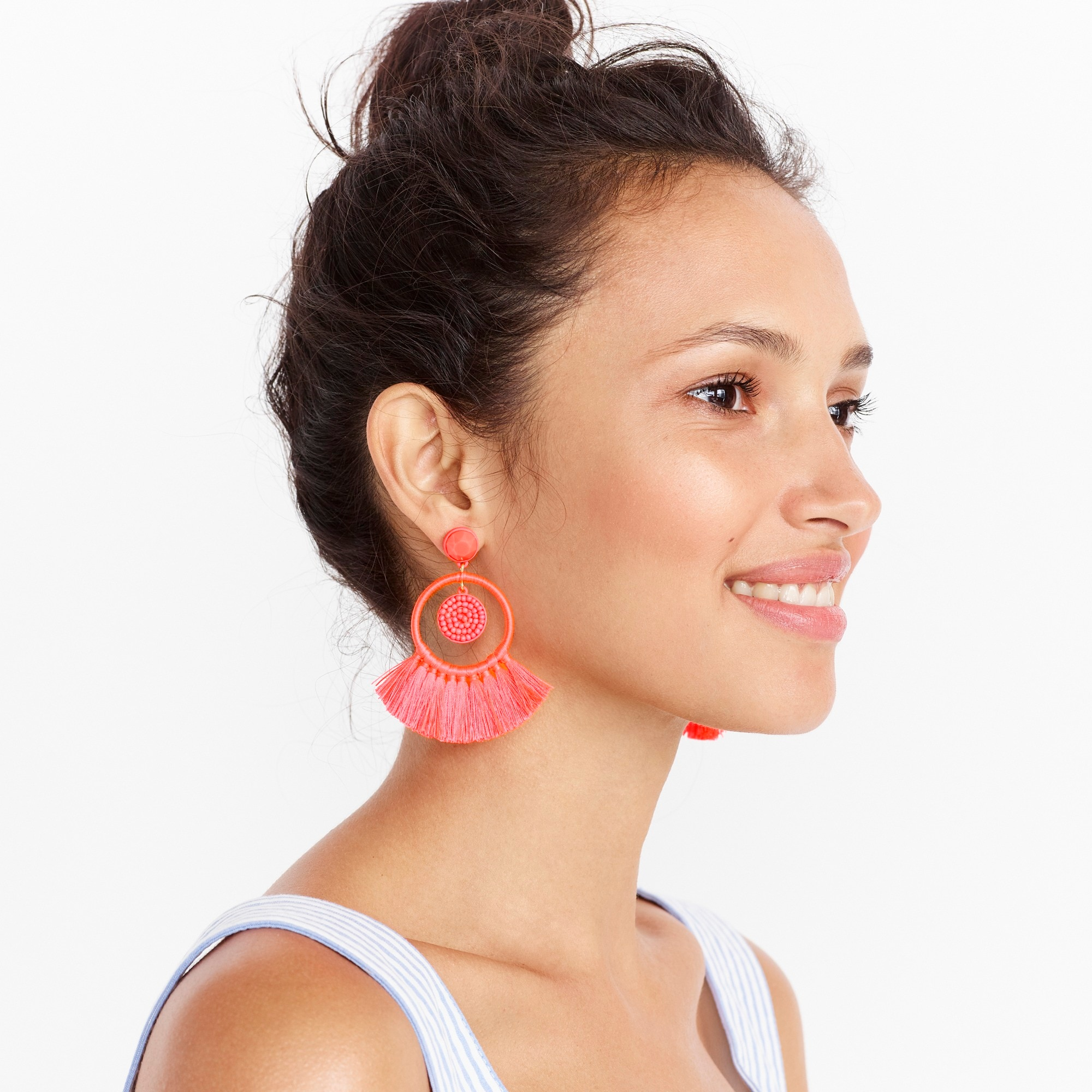 Image 1 for Fan tassel hoop earrings