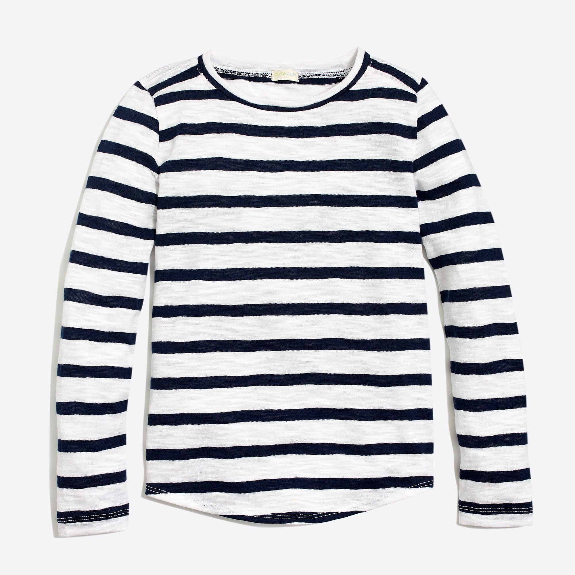 Girls' long-sleeve shirttail-hem T-shirt