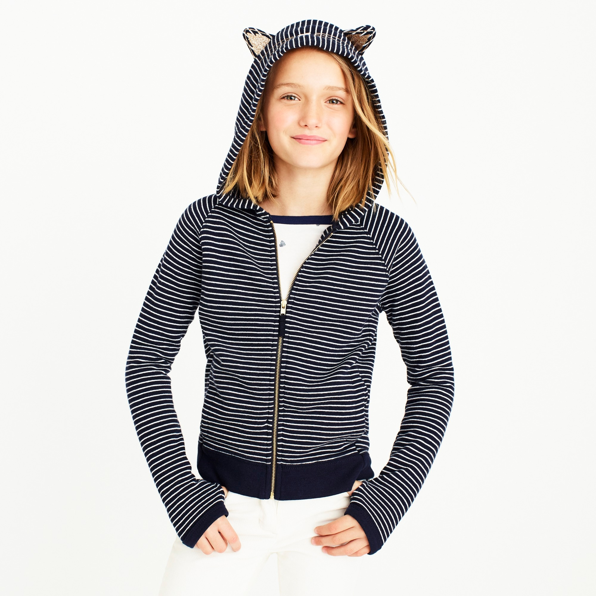 girls' striped kitty sweatshirt : factorygirls sweatshirts