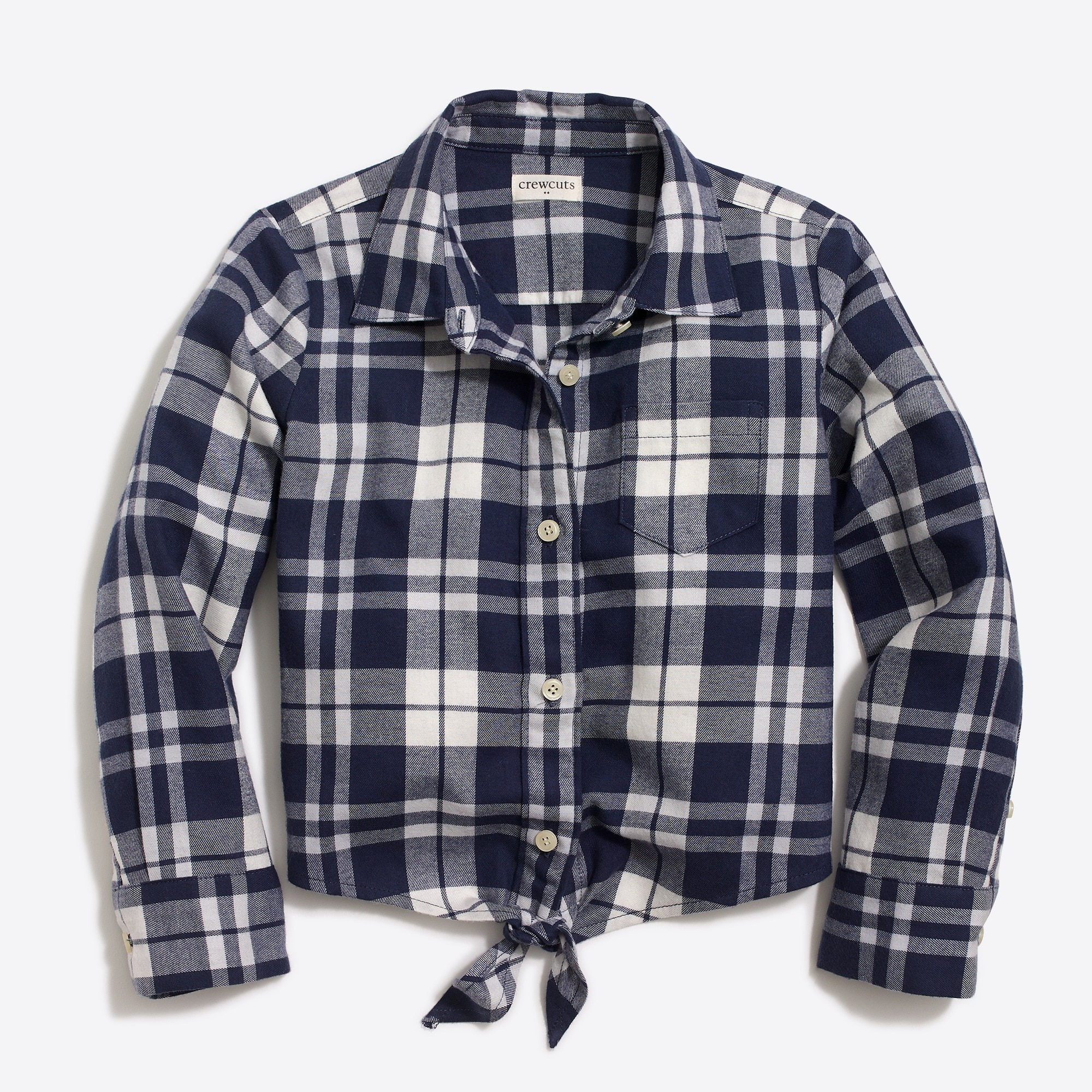 factory girls Girls' long-sleeve tie-front flannel shirt