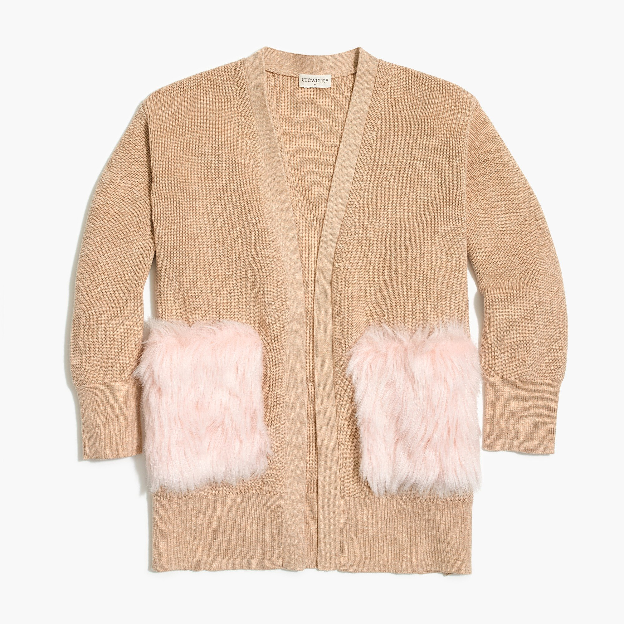 JCrew Factory Girls' long cardigan sweater with fur pockets $25