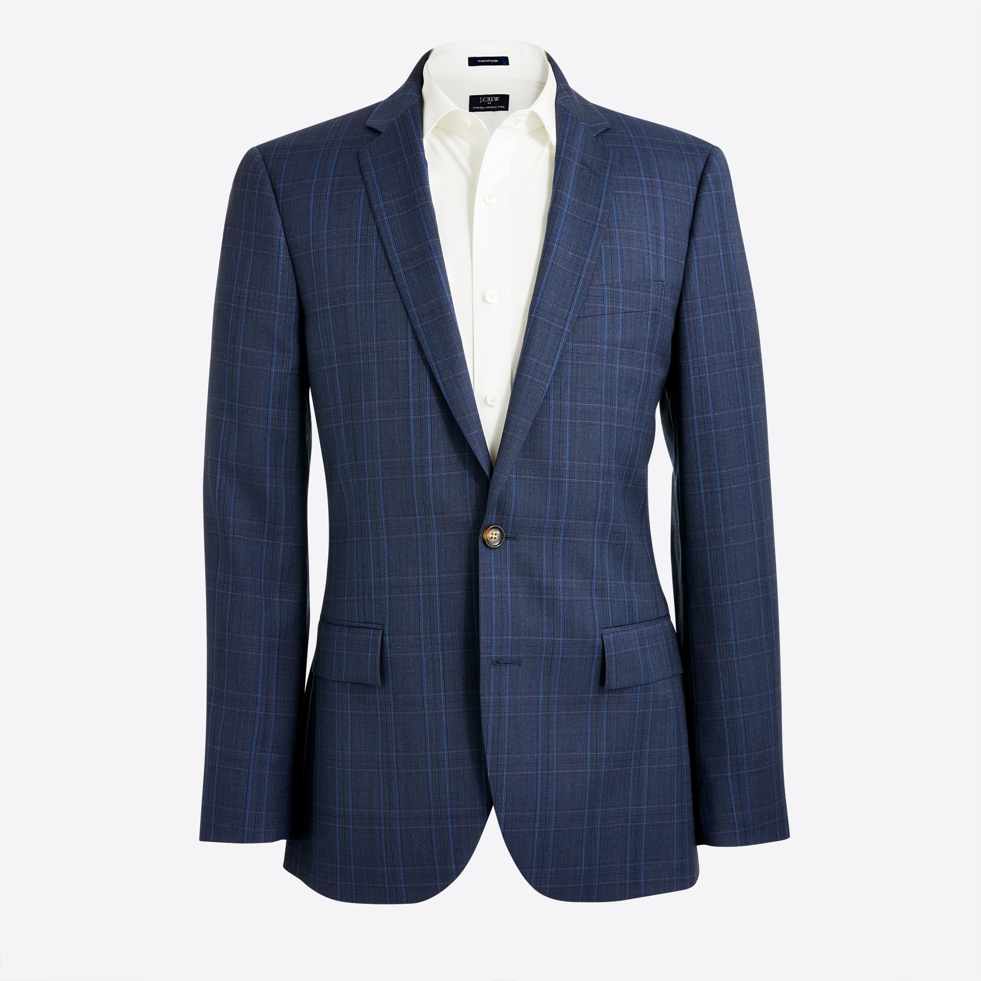 Thompson suit jacket in glen plaid worsted wool