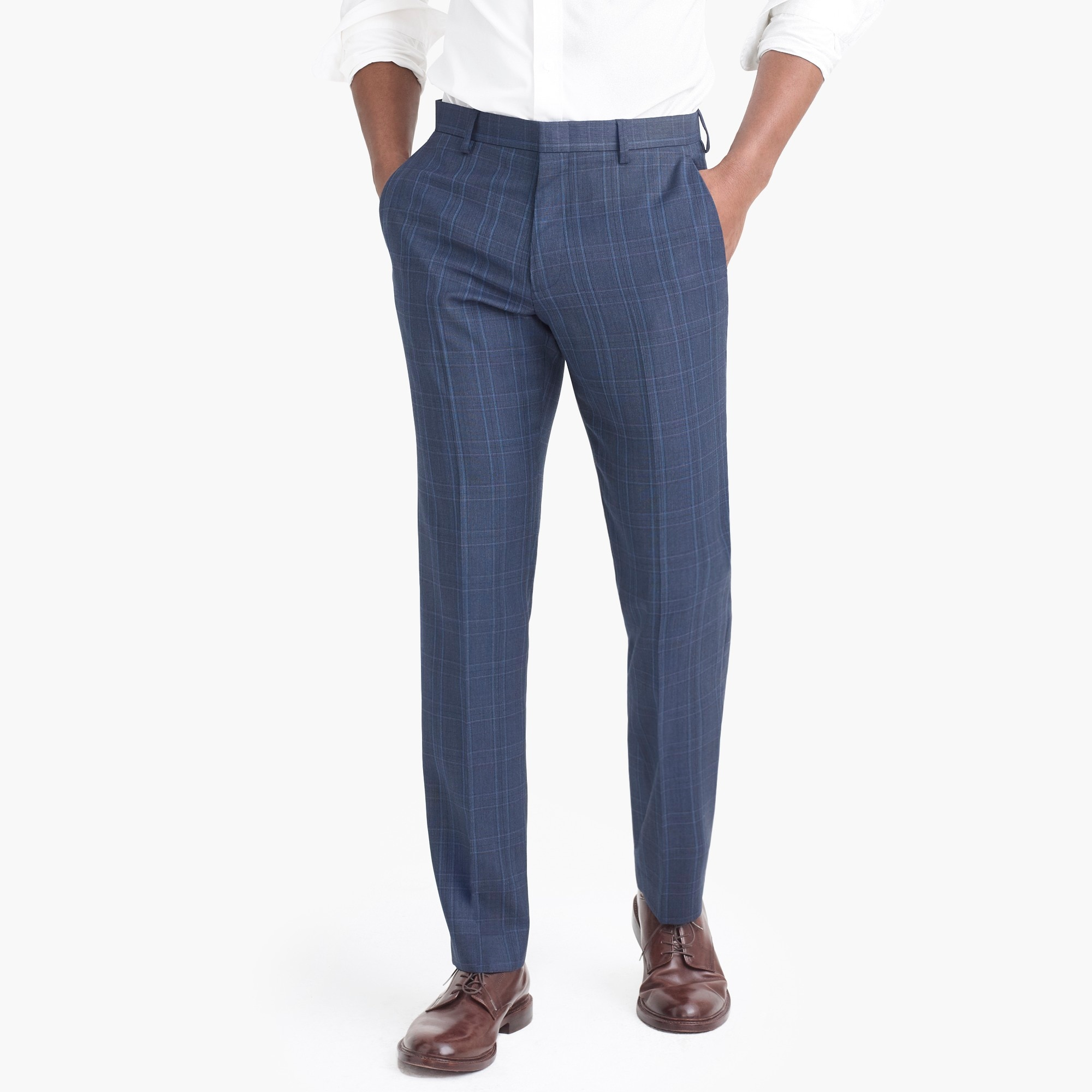 slim-fit thompson suit pant in glen plaid worsted wool : factorymen suits