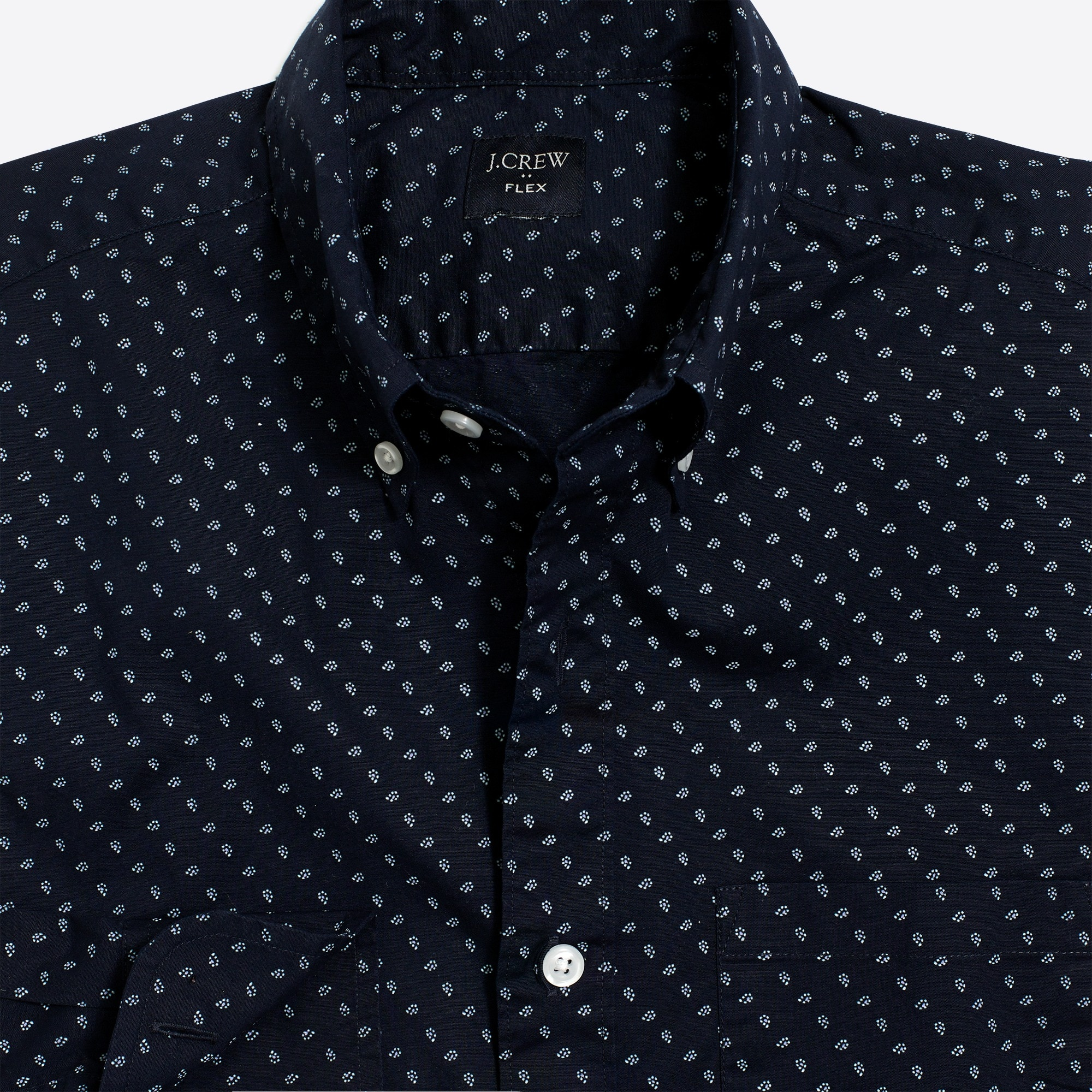 factory mens Slim-fit flex washed shirt in micro-paisley print