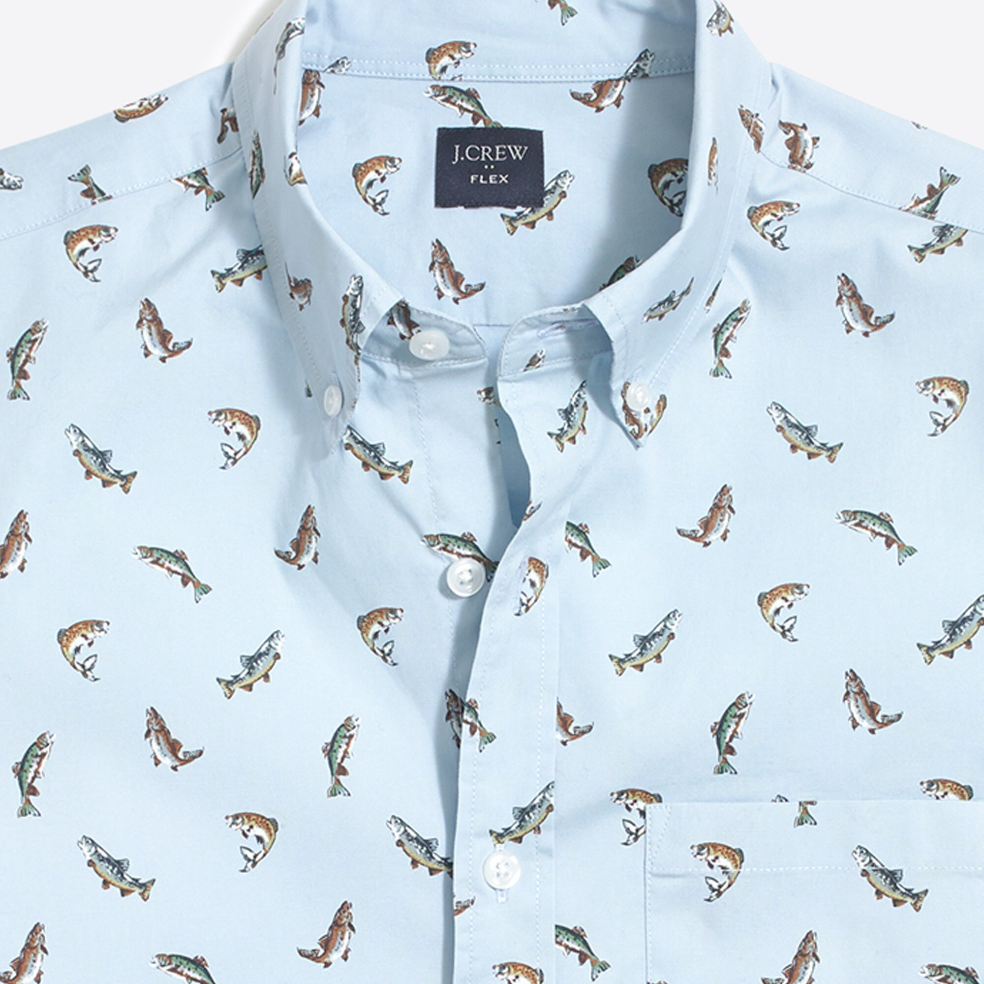 Image 1 for Slim-fit short-sleeve flex trout printed shirt