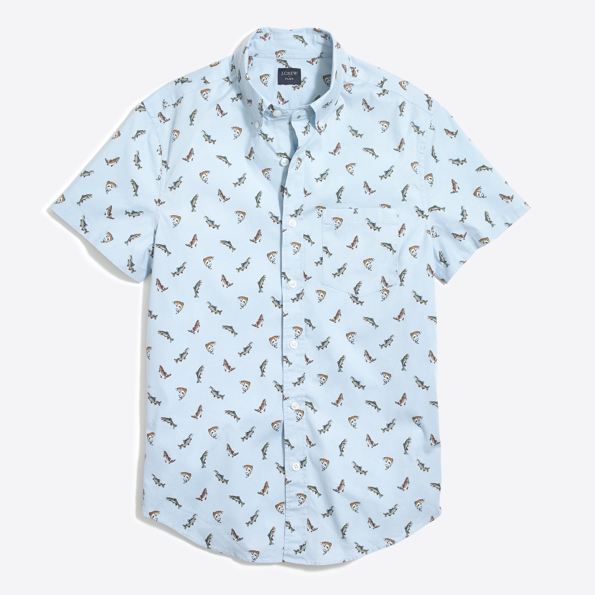 Image 2 for Slim-fit short-sleeve flex trout printed shirt