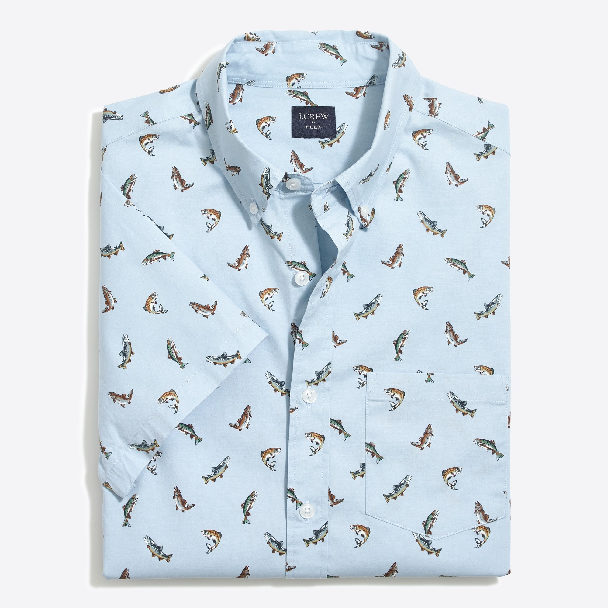Image 3 for Slim-fit short-sleeve flex trout printed shirt
