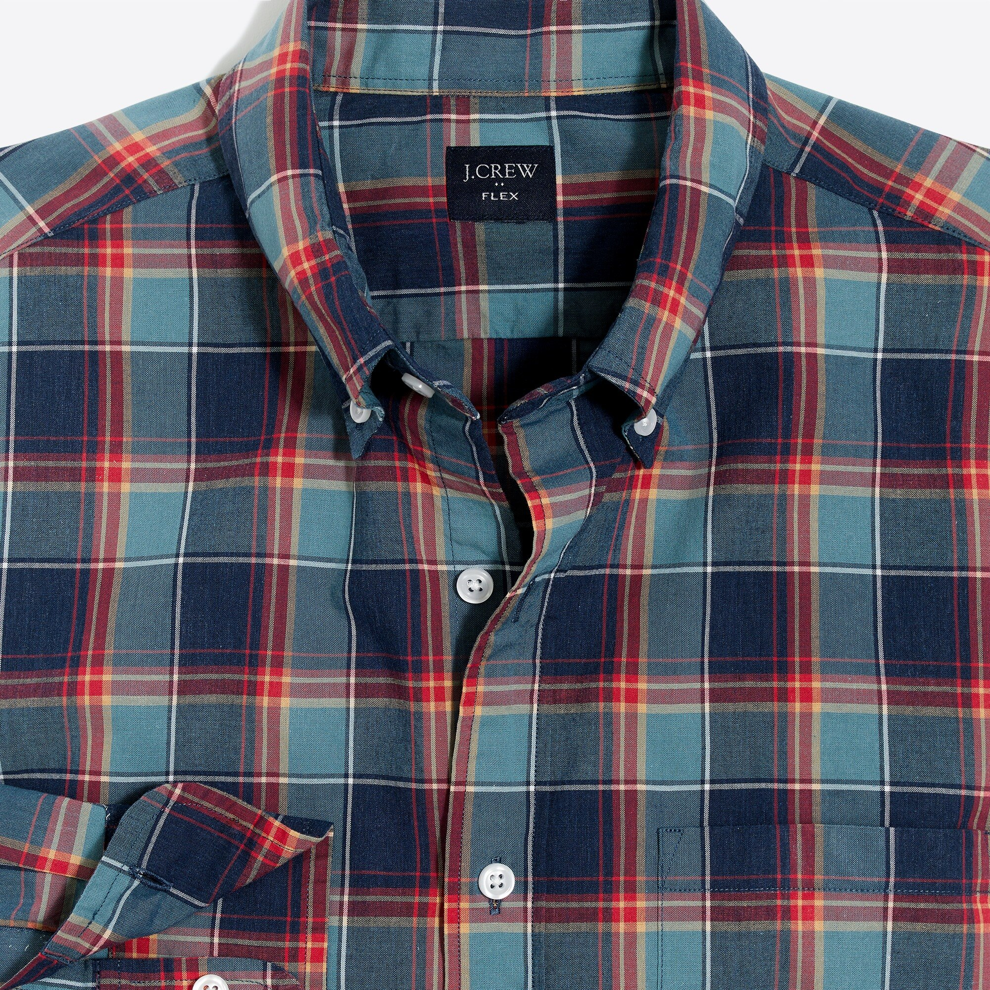 factory mens Slim-fit heather flex washed shirt in plaid