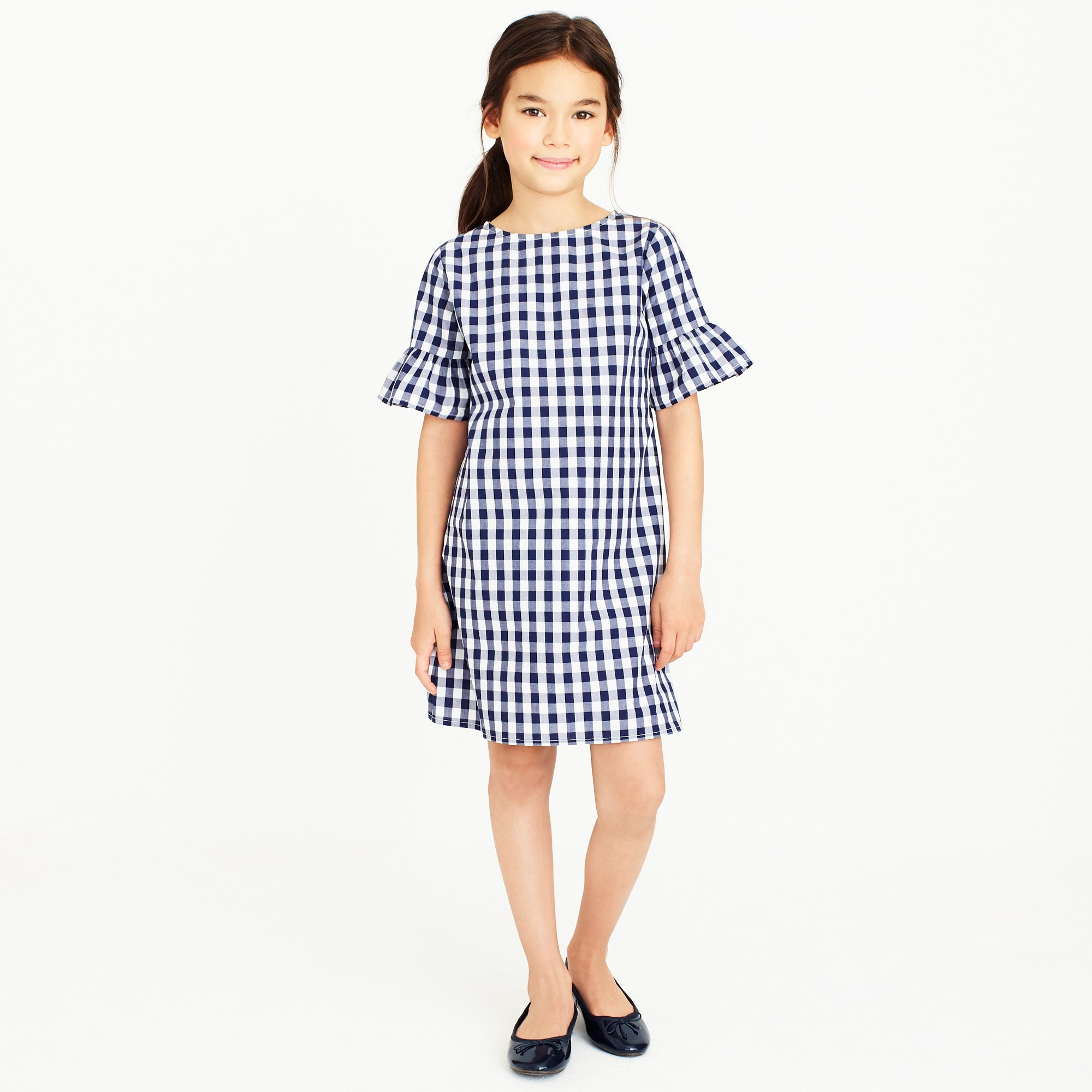 girls' flutter-sleeve dress in gingham : factorygirls dresses