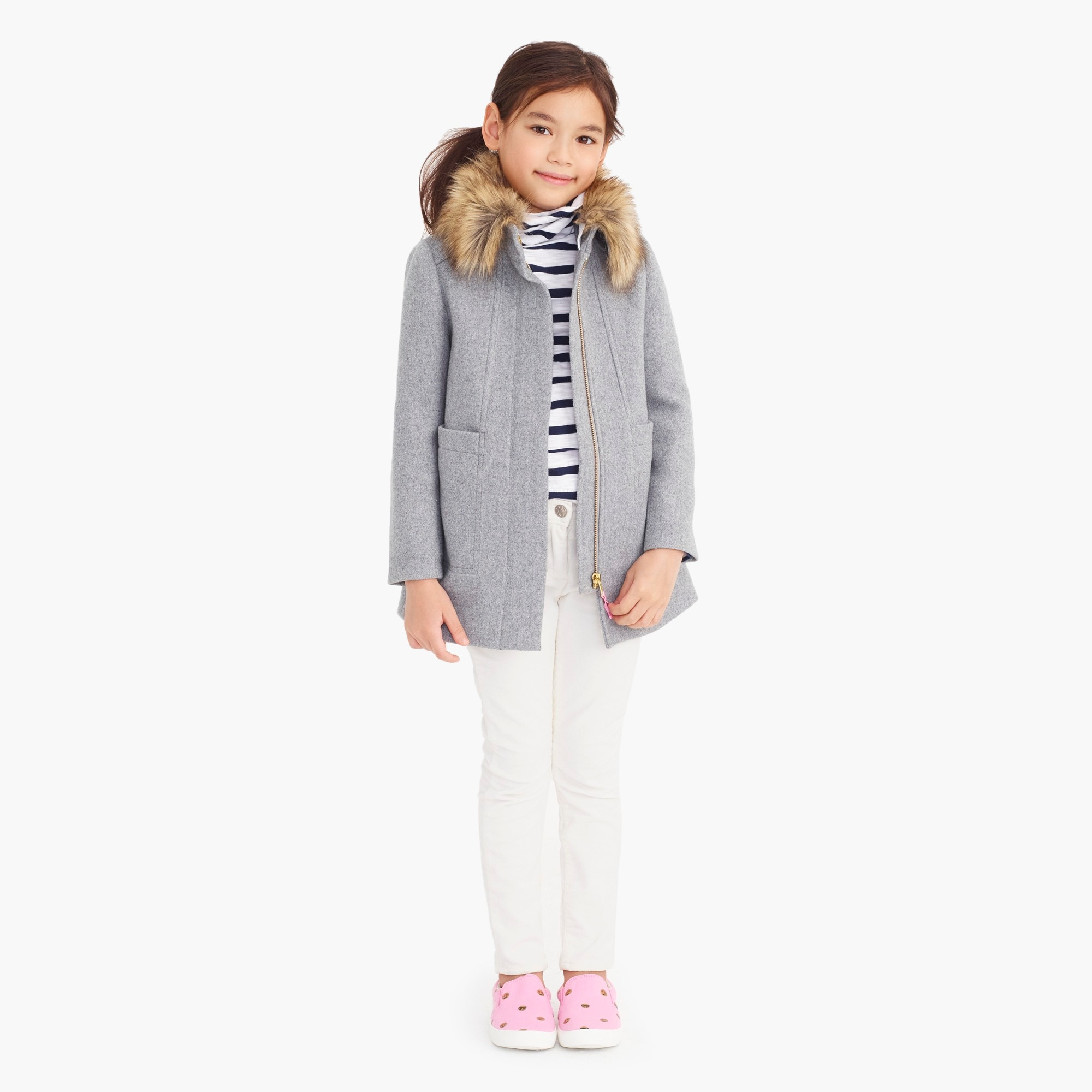 girls' faux-fur collar coat : factorygirls jackets