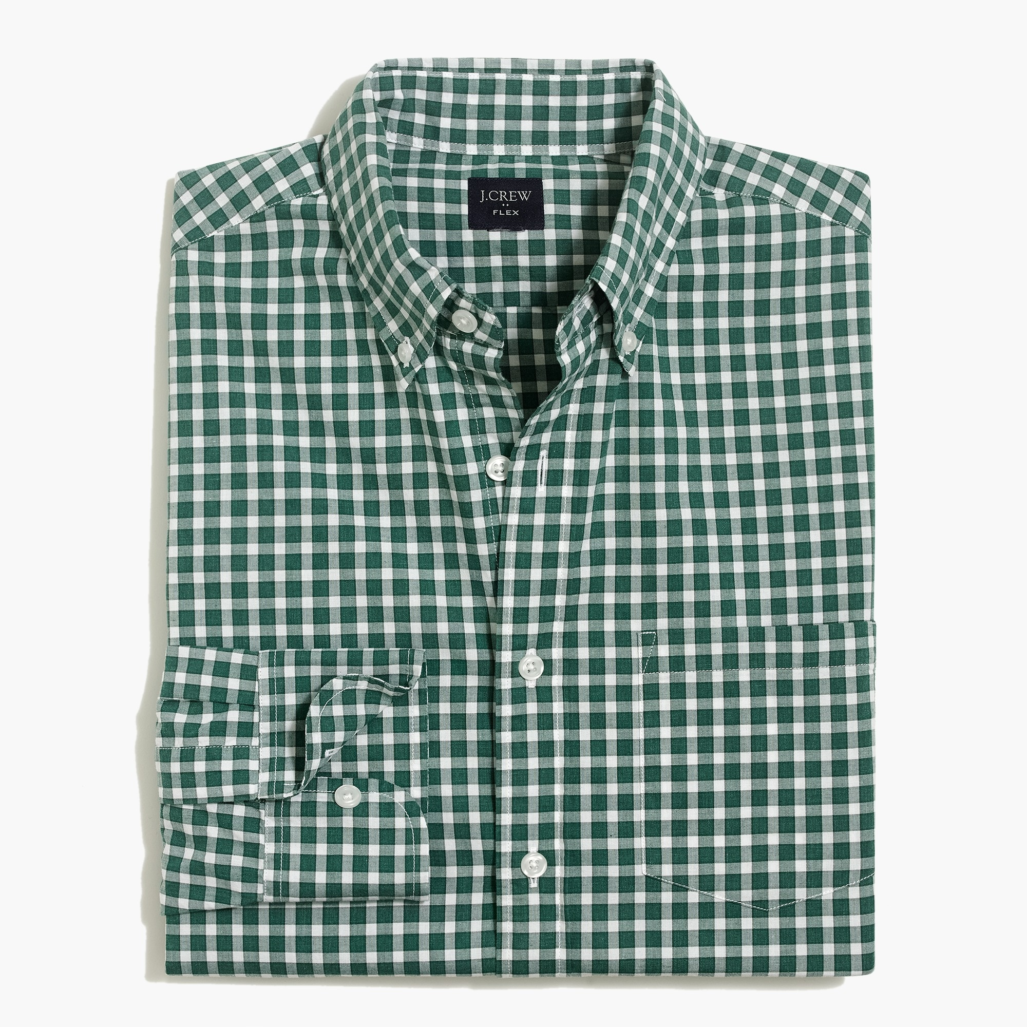 factory mens Slim-fit flex heather washed shirt in check